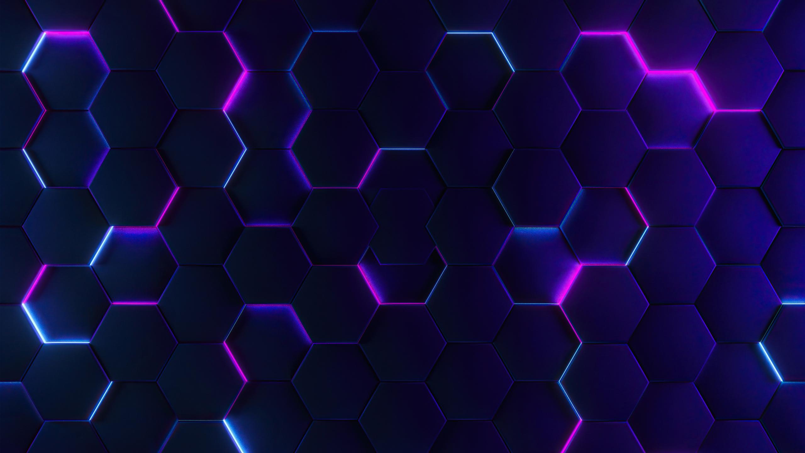 General 2560x1440 abstract hexagon glowing digital art texture CGI purple