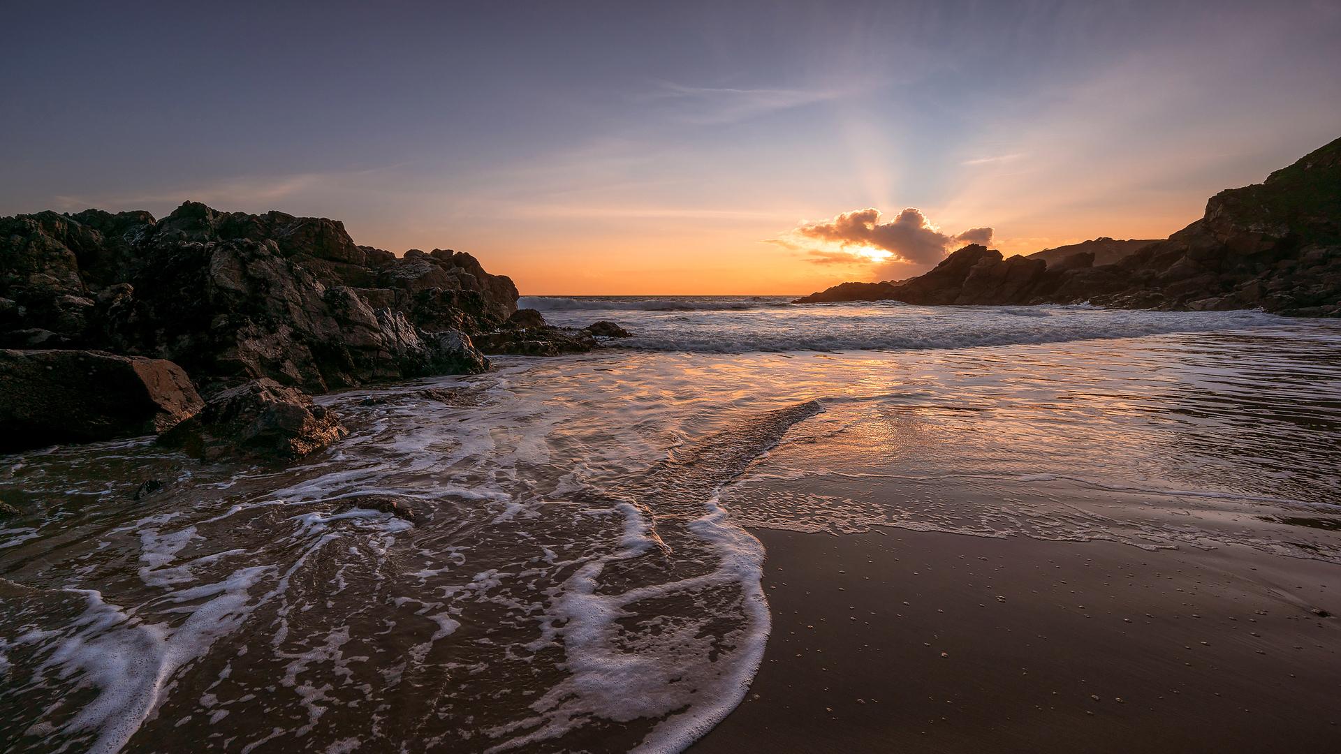 General 1920x1080 nature landscape sky clouds beach rocks sea sunset sand