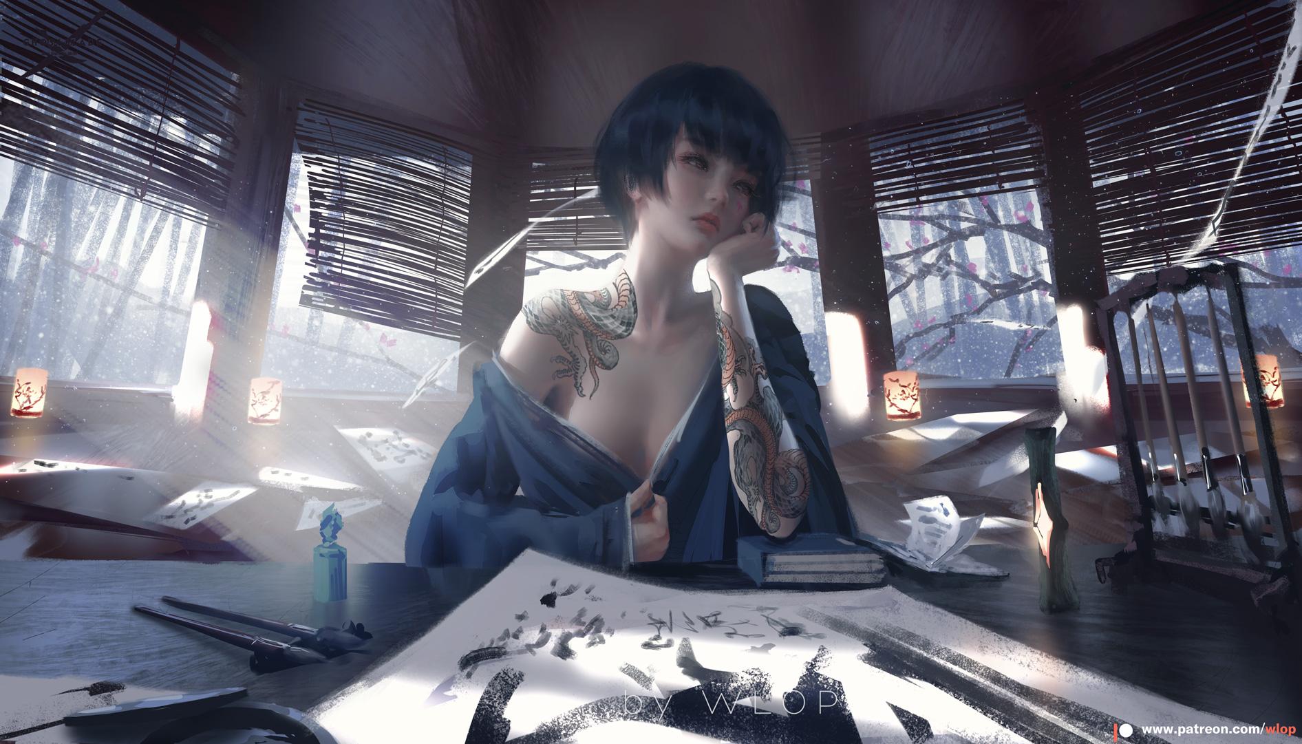 General 1892x1081 WLOP women Asian inked girls dark hair indoors sitting ArtStation looking away window no bra pulling clothing pulling dress tattoo