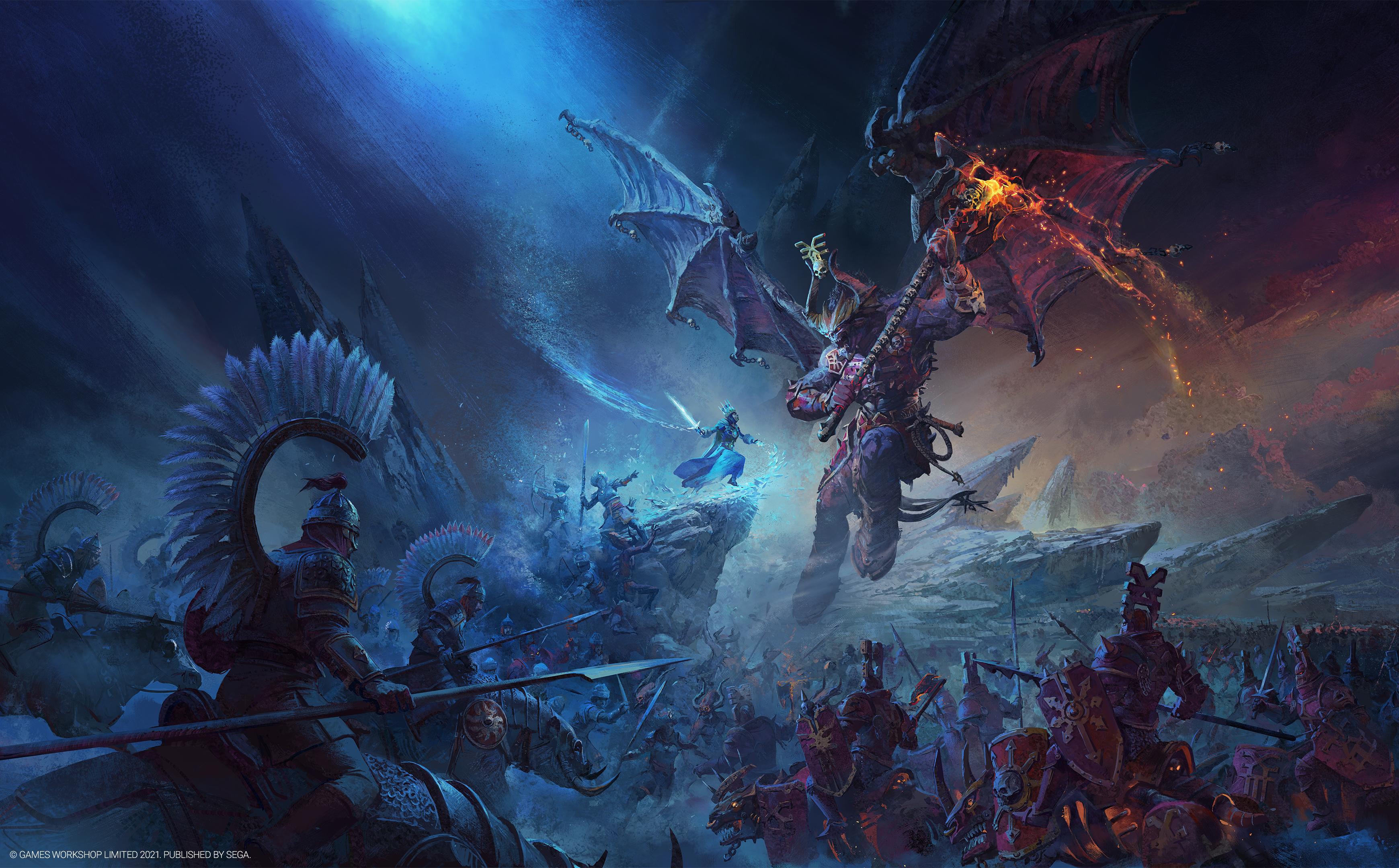 General 3480x2160 Total War: WARHAMMER III video games video game art digital art demon ice Queen  crown Games Workshop Axe night spear bow sword Chaos