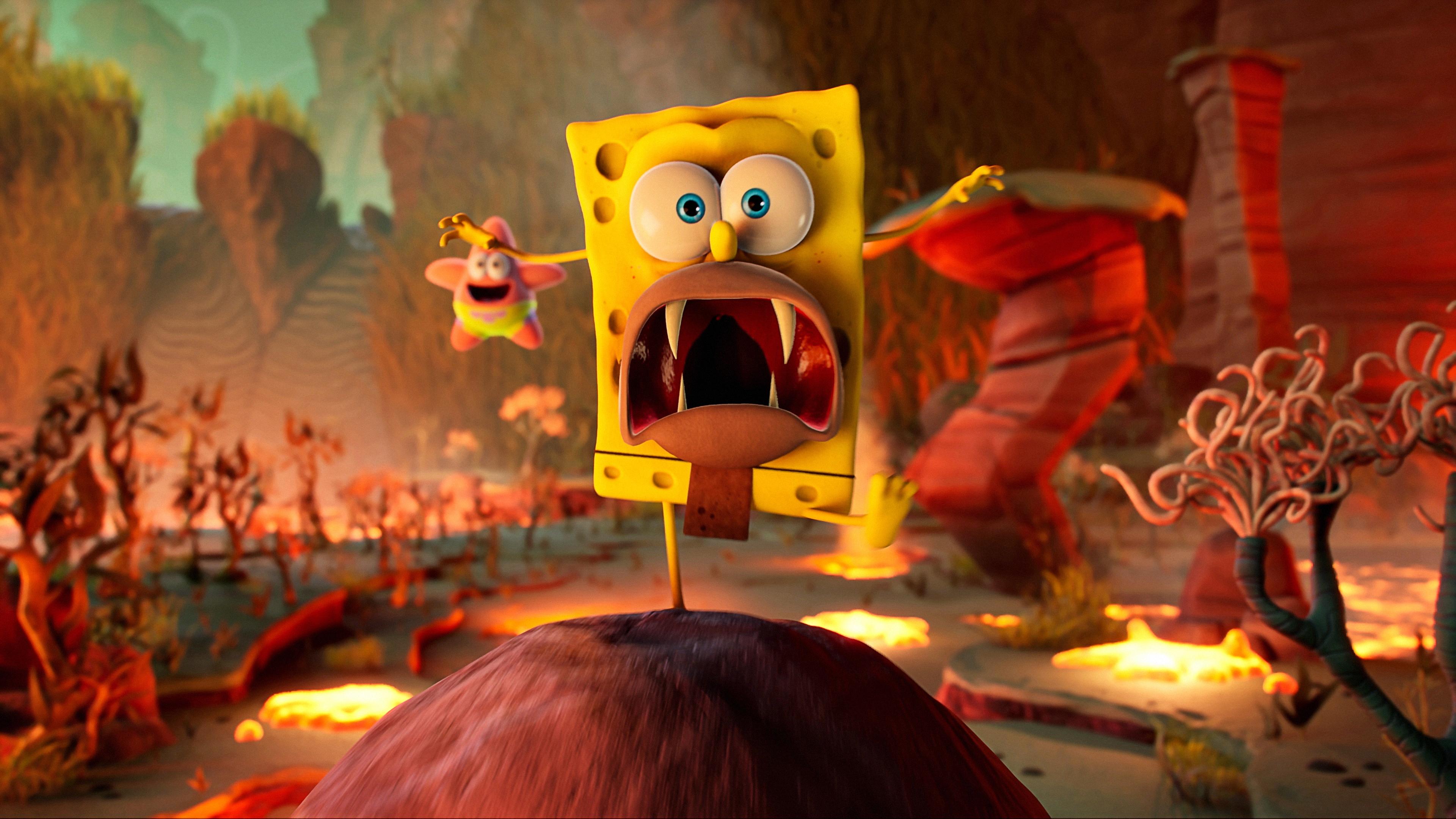 General 3840x2160 SpongeBob SquarePants: The Cosmic Shake SpongeBob SquarePants THQ Nordic Purple Lamp Studios spongebob 4K video game art