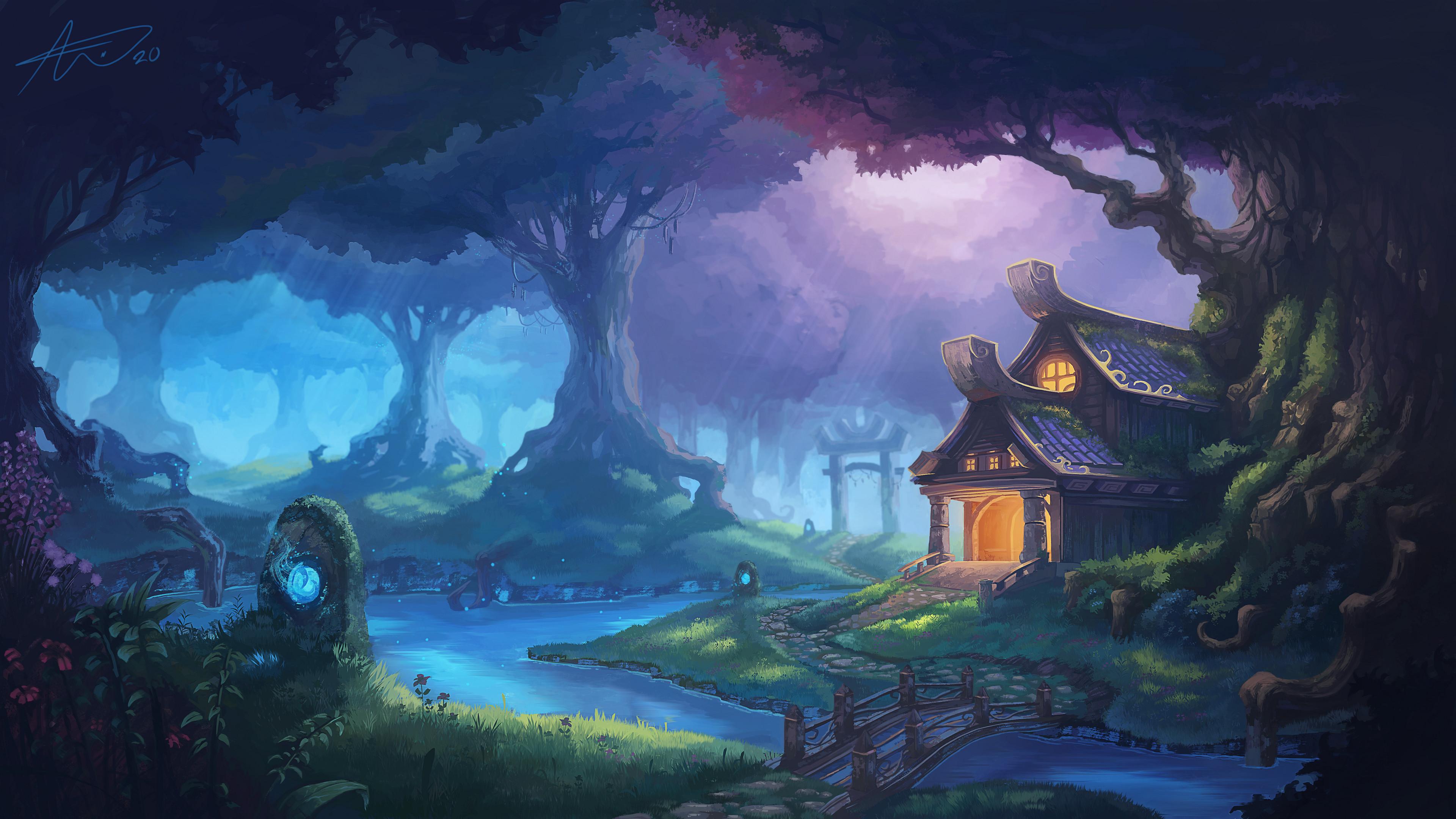 General 3840x2160 landscape digital art Forange forest artwork World of Warcraft Warcraft
