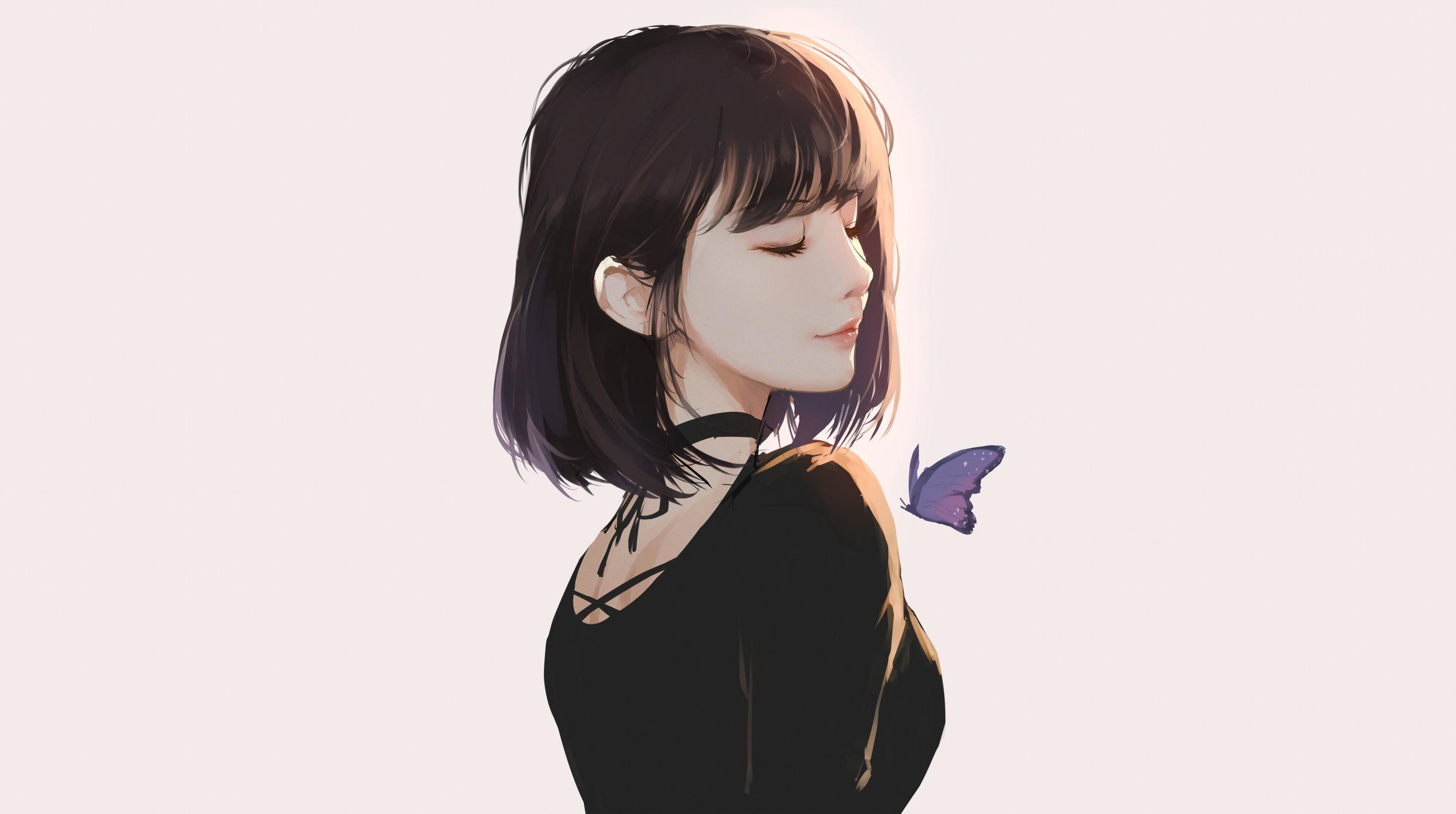 Anime 2549x1425 Caidychen artwork women butterfly short hair brunette closed eyes KD Chen
