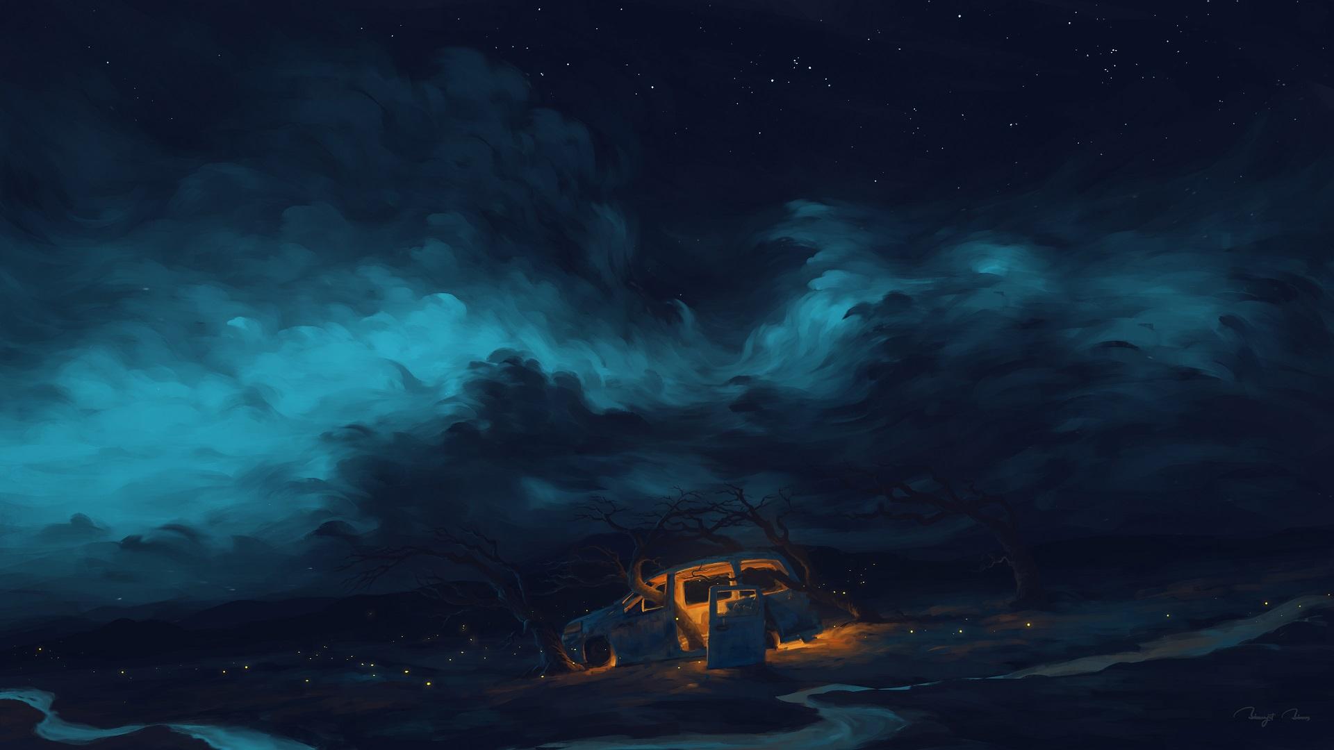 General 1920x1080 digital painting night car sky clouds BisBiswas fireflies