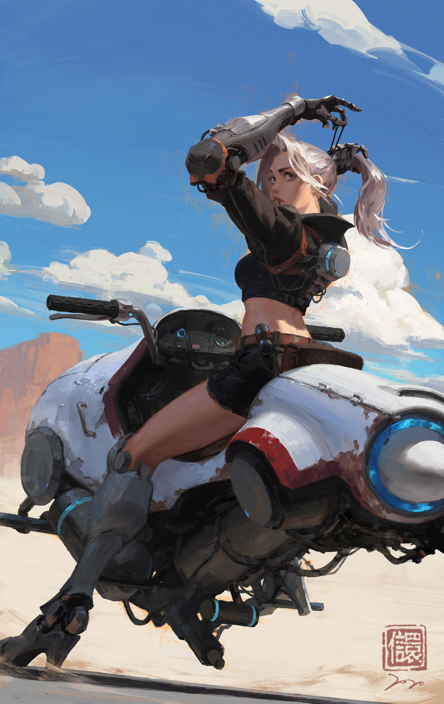 General 1428x2266 character design  bikes biker women science fiction cybernetics ponytail desert wasteland futuristic flying car motorcycle looking back bare midriff arms up sitting legs knee-high boots science fiction women cyborg vehicle sky back ArtStation Kan Liu silver hair clouds