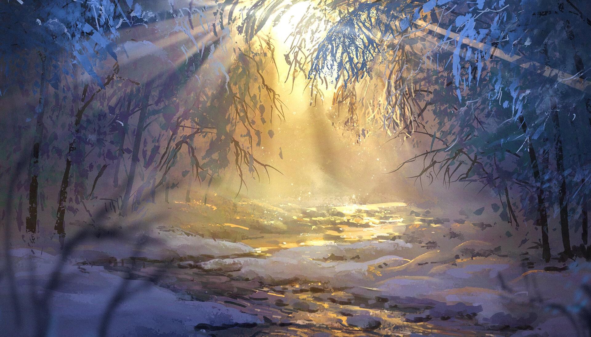 Anime 1920x1096 anime winter forest snow sunrise Surendra Rajawat