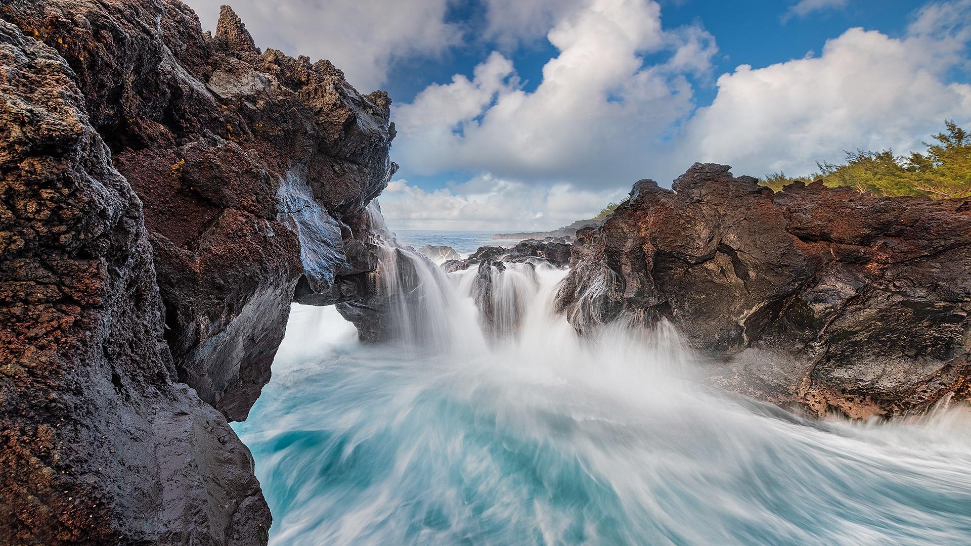 General 1920x1080 Indian Ocean coast water rock nature La Reunion Island
