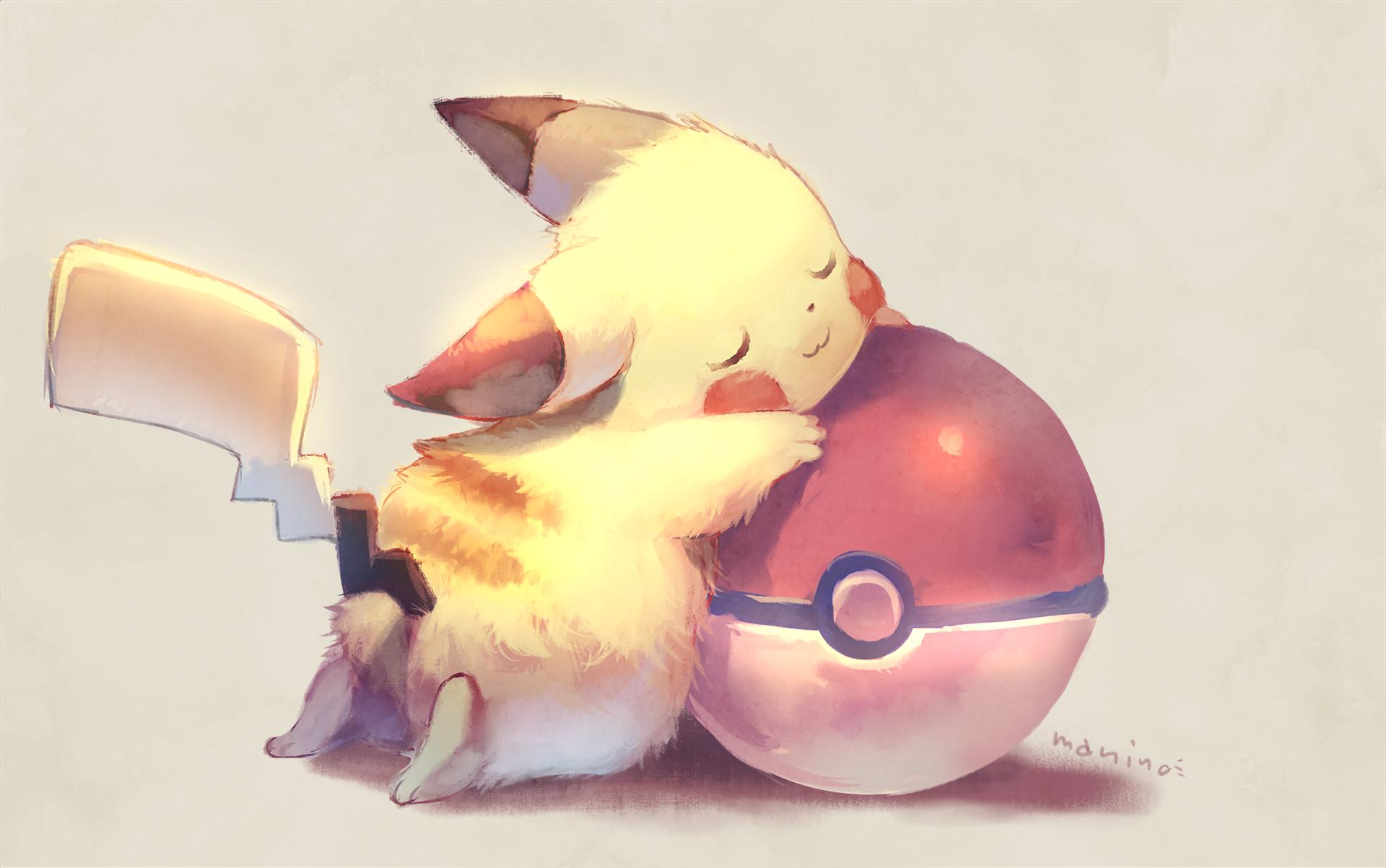 Anime 1920x1203 Pikachu Pokémon Pokéballs sleeping closed eyes