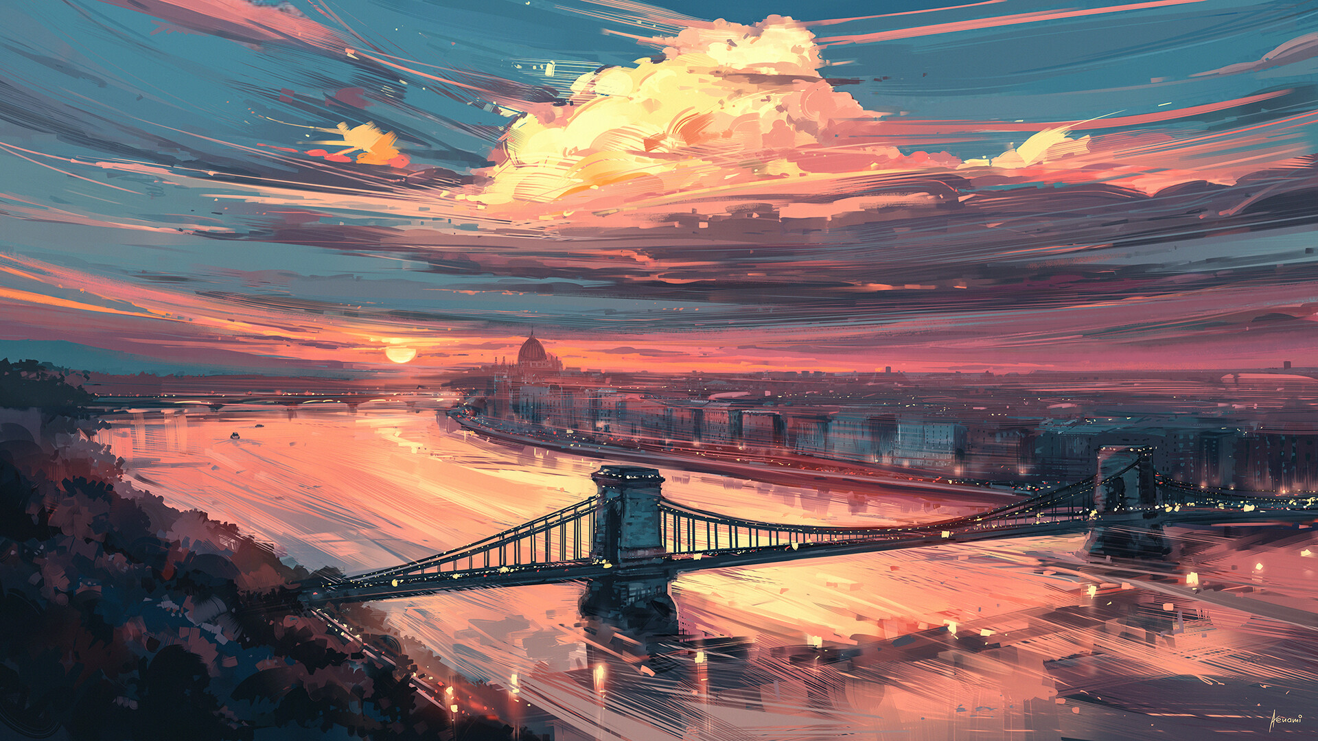 General 1920x1080 artwork sunset clouds river sky Sun Budapest Hungarian Parliament Building Hungary