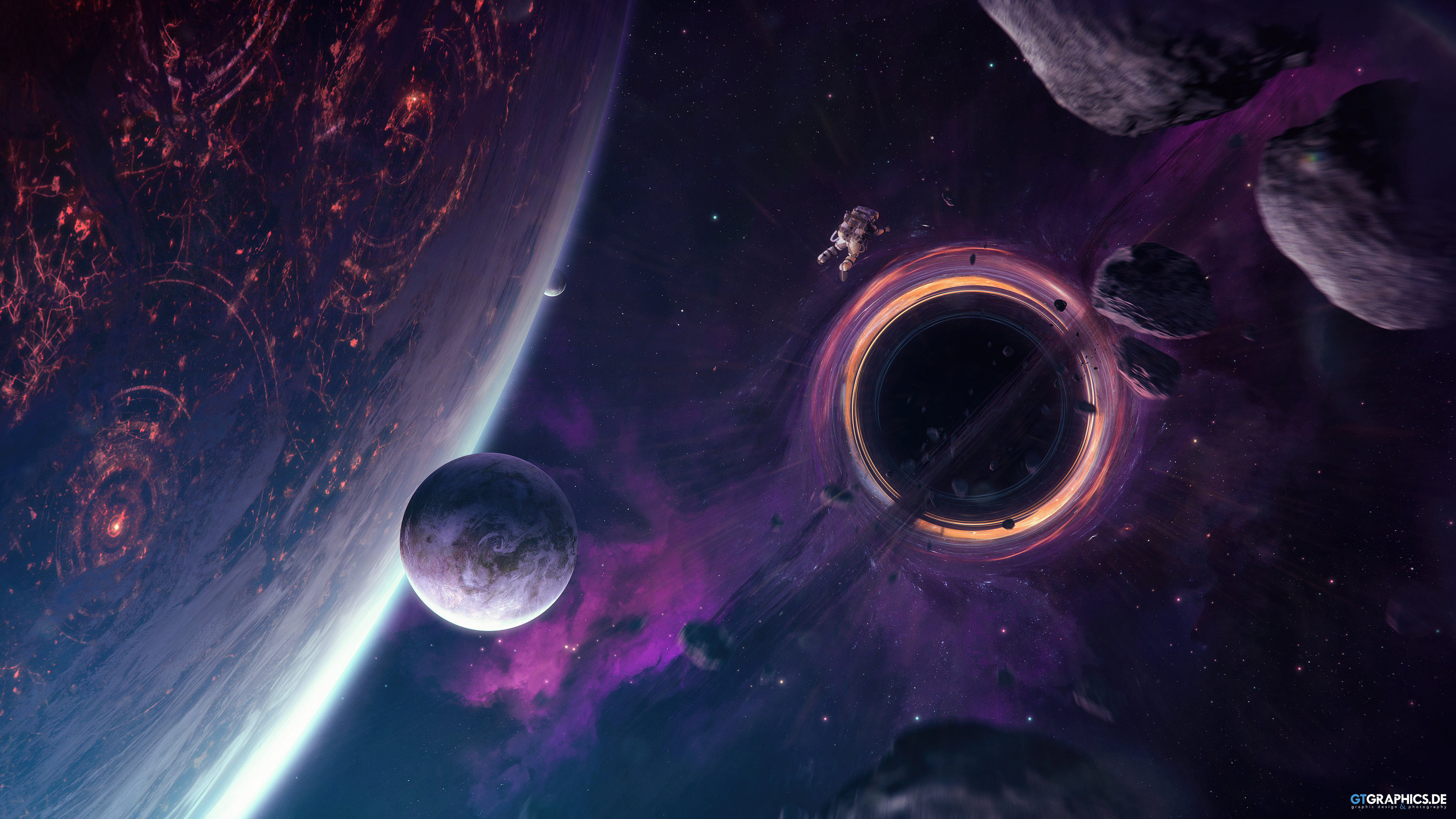 General 3840x2160 space science fiction artwork space art astronaut