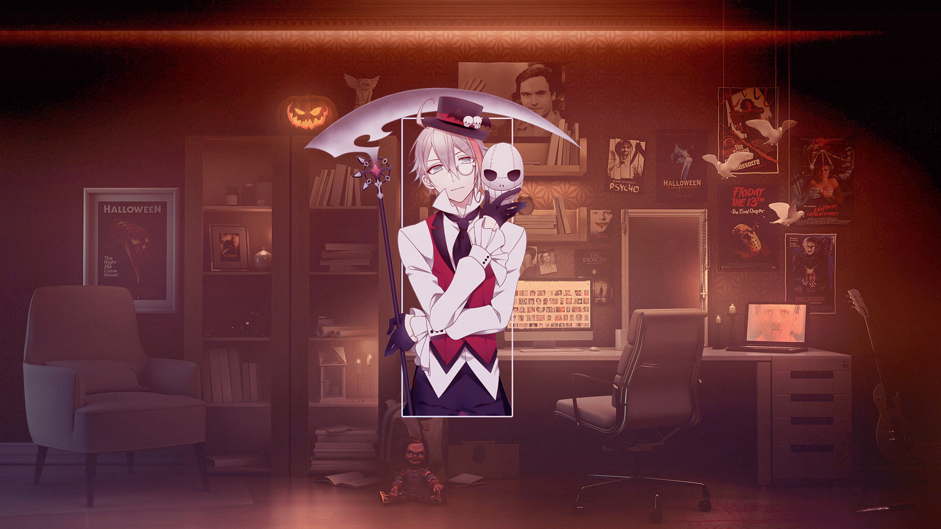 Anime 1920x1080 anime anime boys room Halloween pumpkin digital art Photoshop picture-in-picture scythe