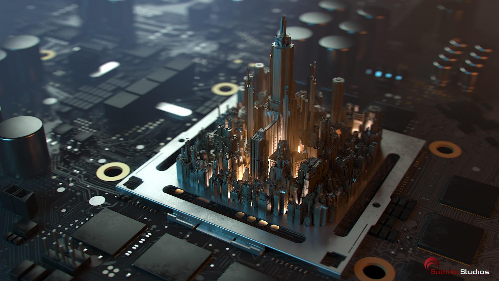 General 1920x1080 circuits city CPU skyscraper microchip depth of field processor 3D digital art PCB