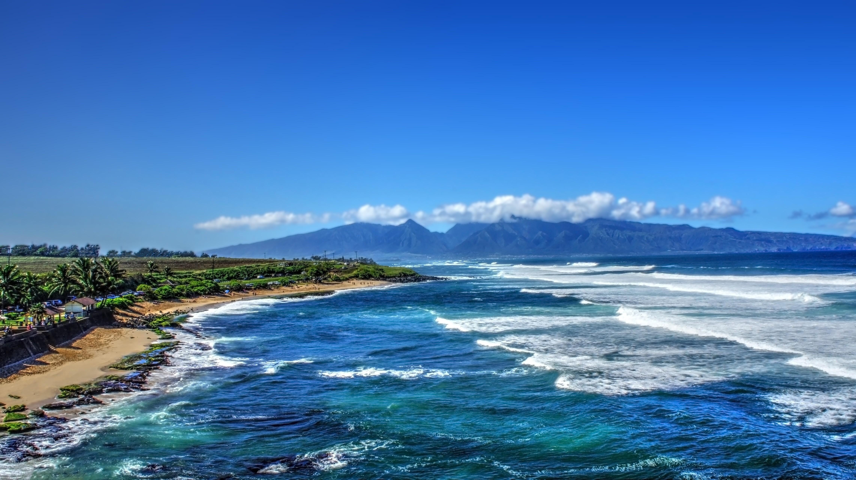 General 4568x2563 tropical water tropical forest Hawaii isle of Maui Maui palm trees beach waterfall