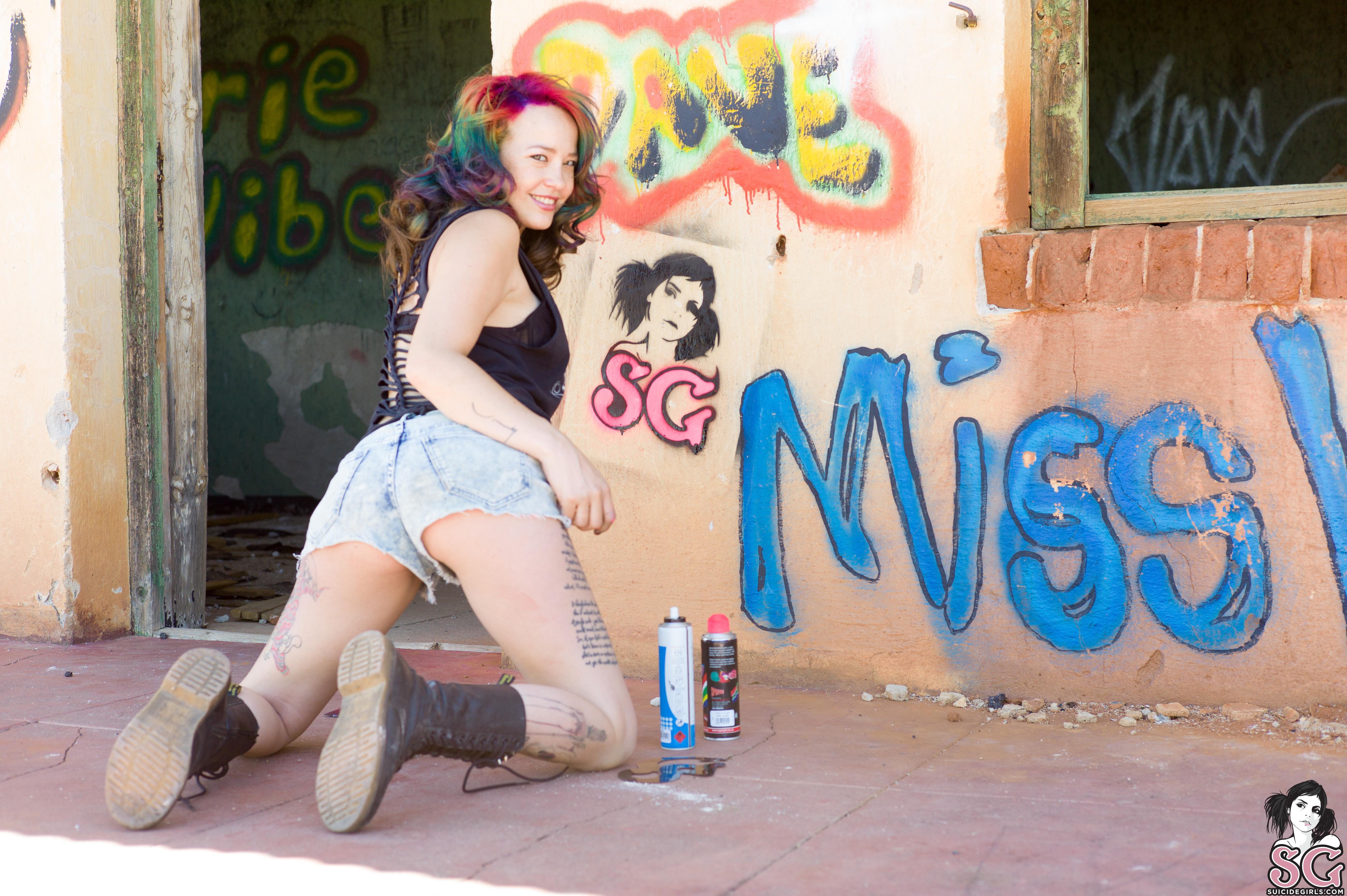 People 5212x3468 Suicide Girls Rainbow hair tattoo women hangar graffiti Missvness Suicide