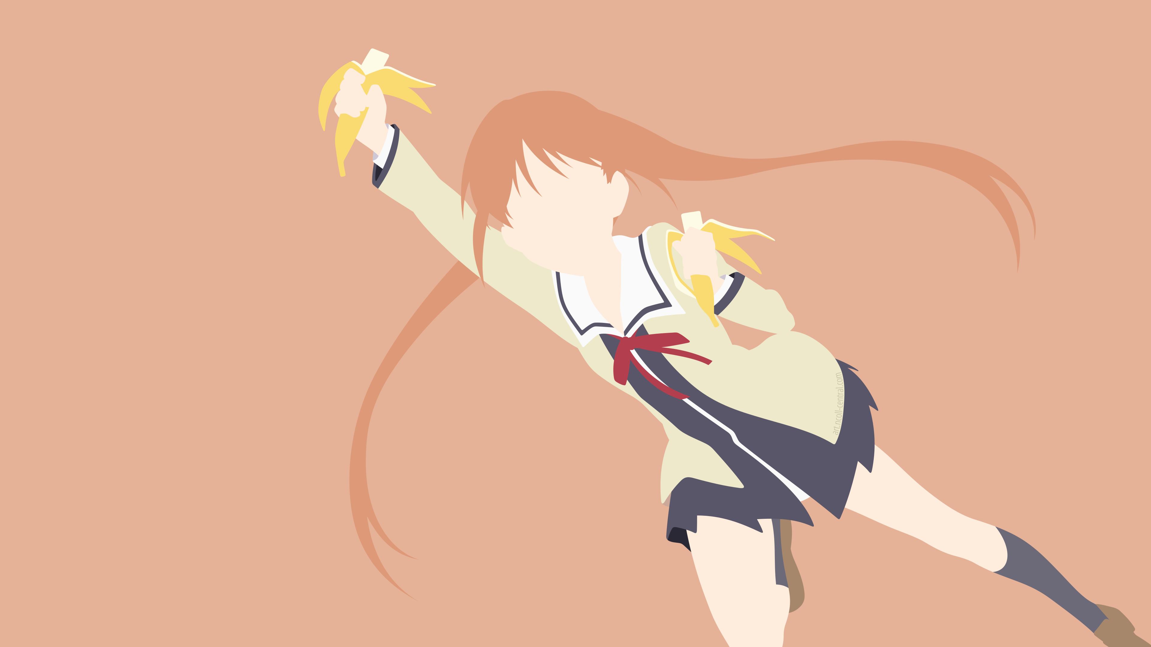 Anime 3840x2160 AHO-GIRL Hanabatake Yoshiko bananas minimalism simple background anime girls