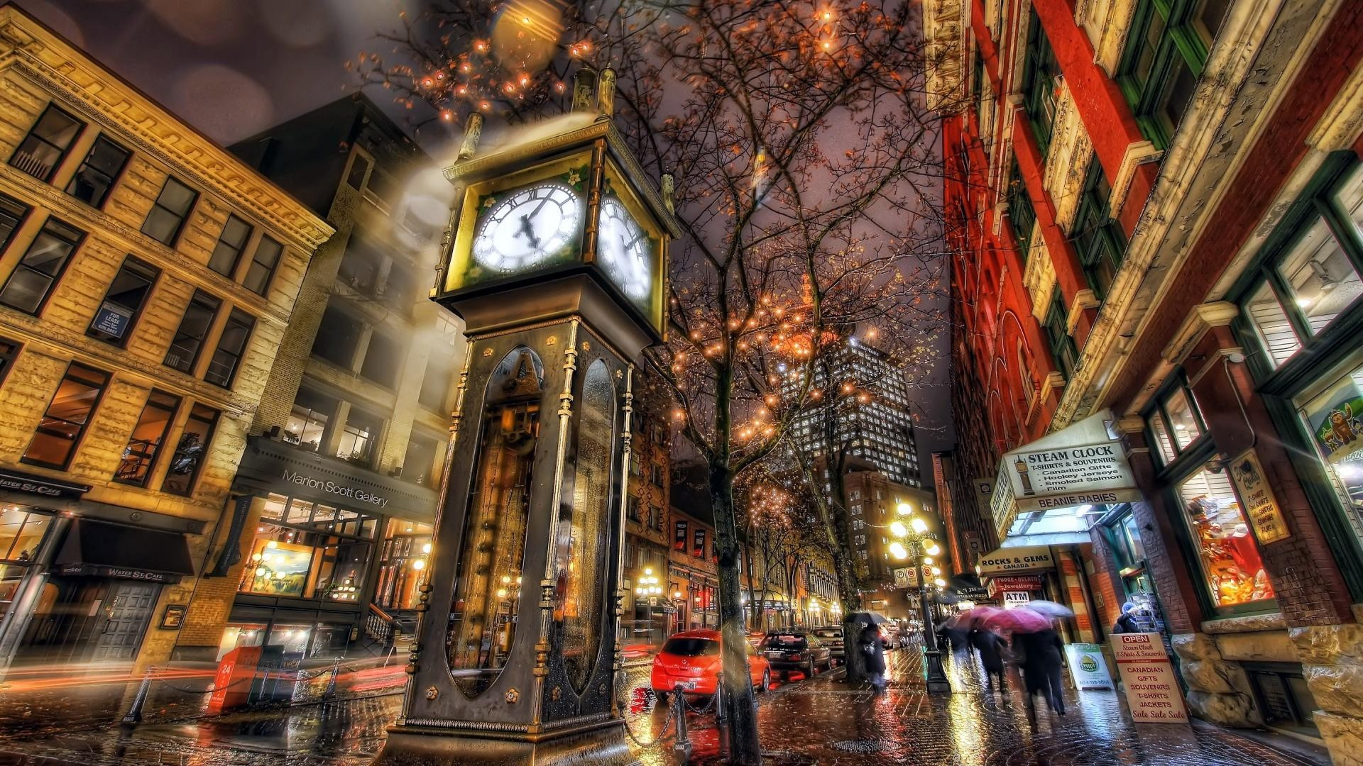 General 1920x1080 clocks HDR street Vancouver street light winter people