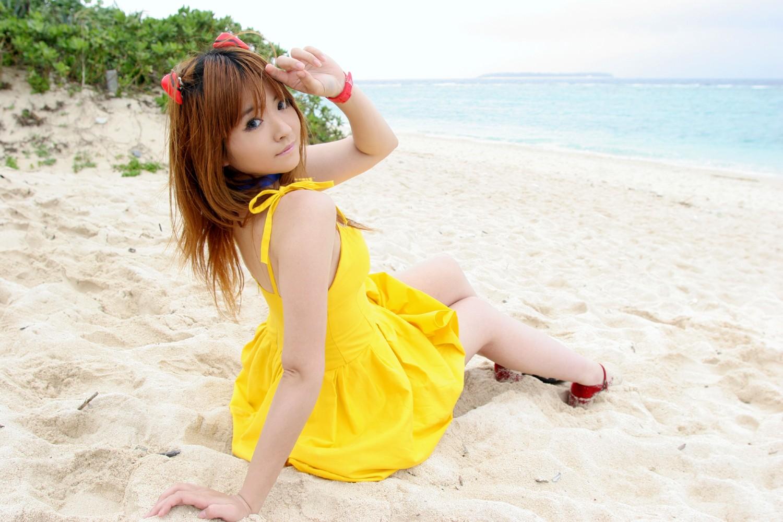 People 1500x1000 cosplay women Arisa Mizuhara Neon Genesis Evangelion Asian redhead yellow dress beach sitting looking at viewer people