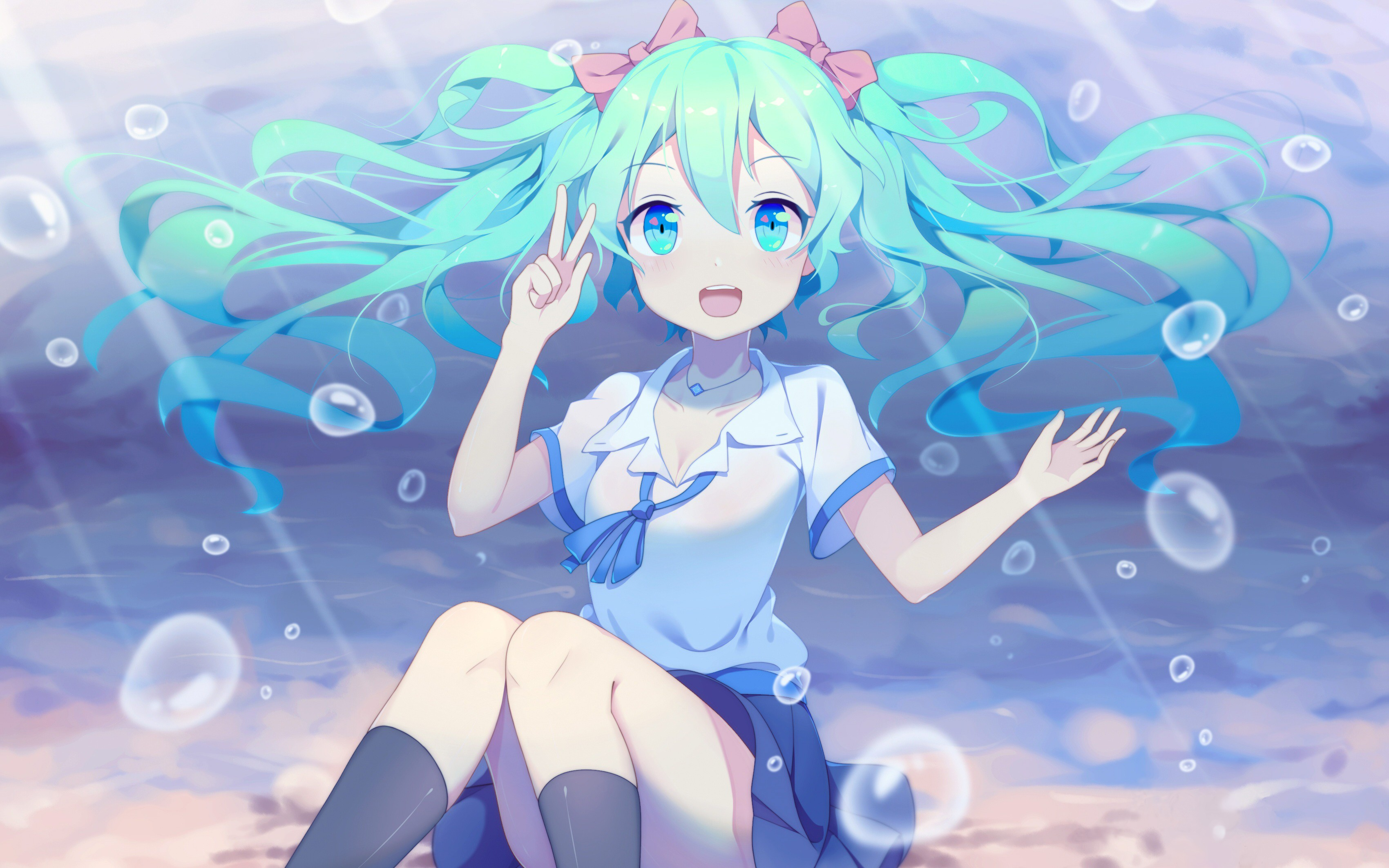Anime 3400x2125 Hatsune Miku bubbles underwater twintails skirt ribbon knee-highs sailor uniform legs