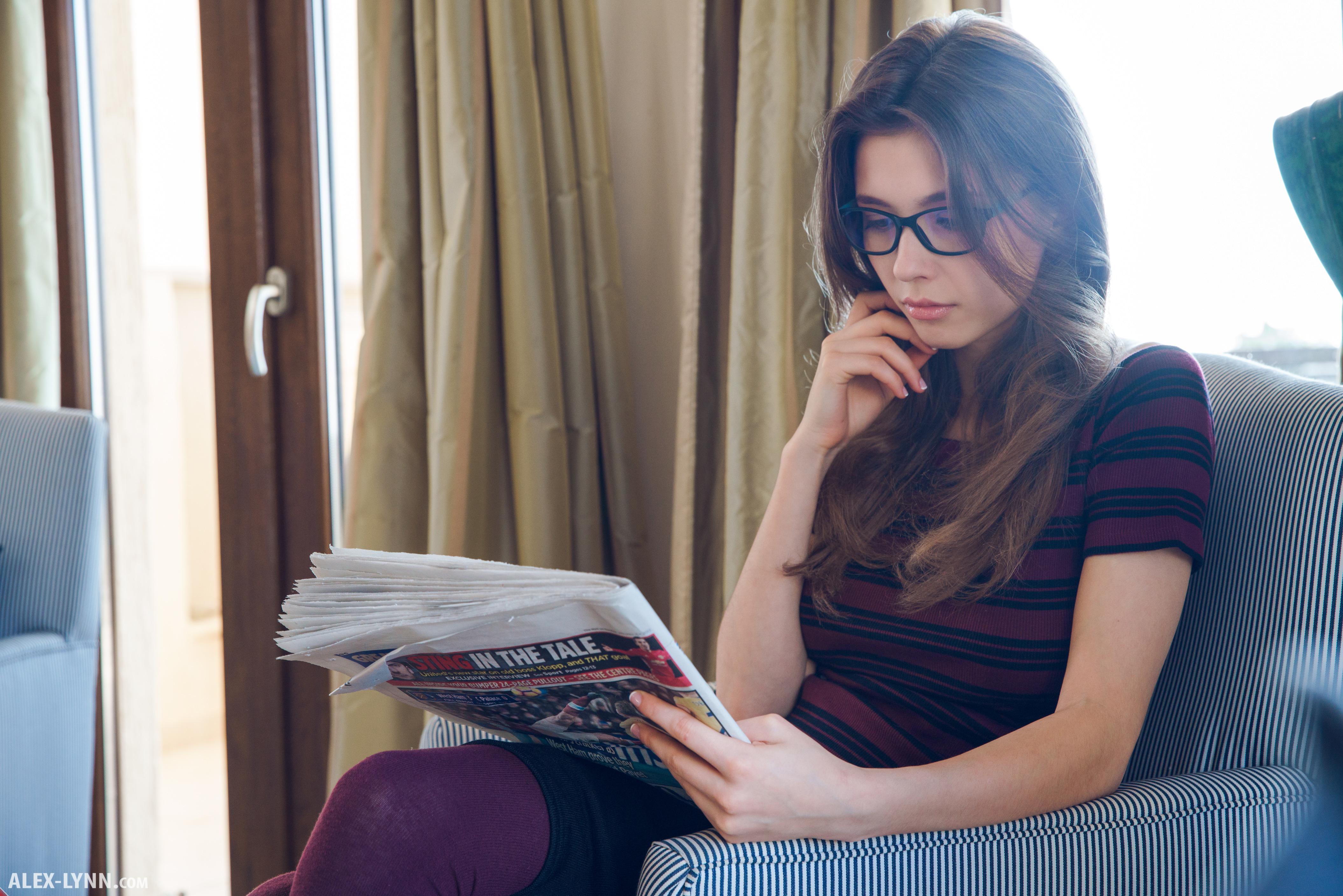 People 4220x2815 Mila Azul model stockings glasses ekaterina volkova Alex Lynn Alex-Lynn.com reading
