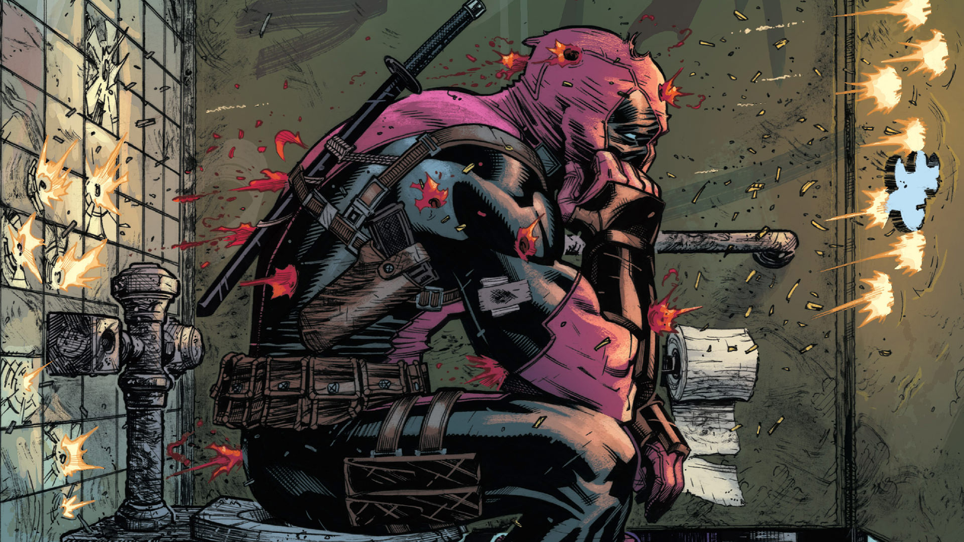 General 1920x1080 Deadpool toilet paper shooting blood Wade Wilson Marvel Comics