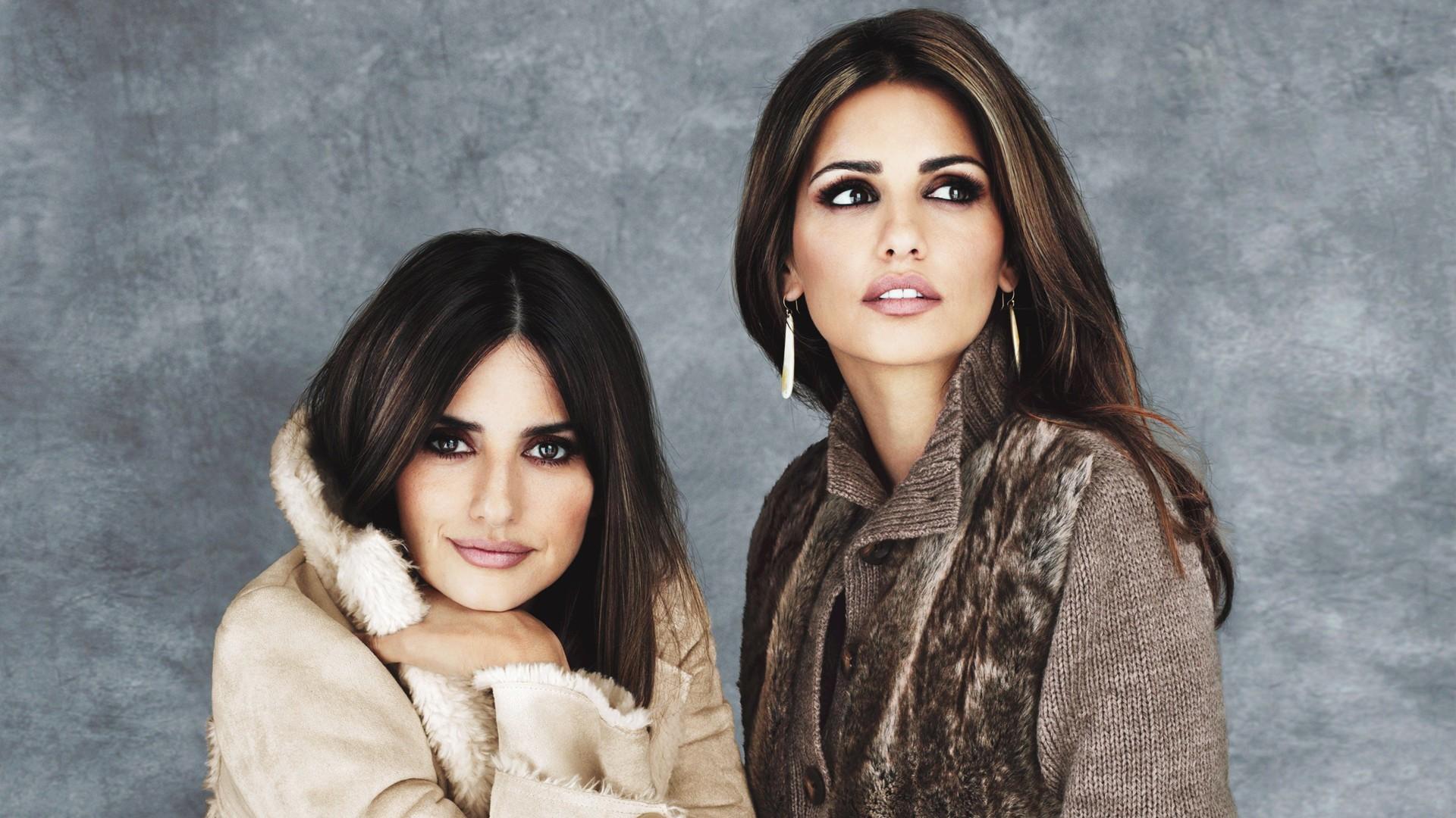 People 1920x1080 women model brunette long hair Monica Cruz actress Penelope Cruz sisters coats sweater brown eyes earring simple background two women