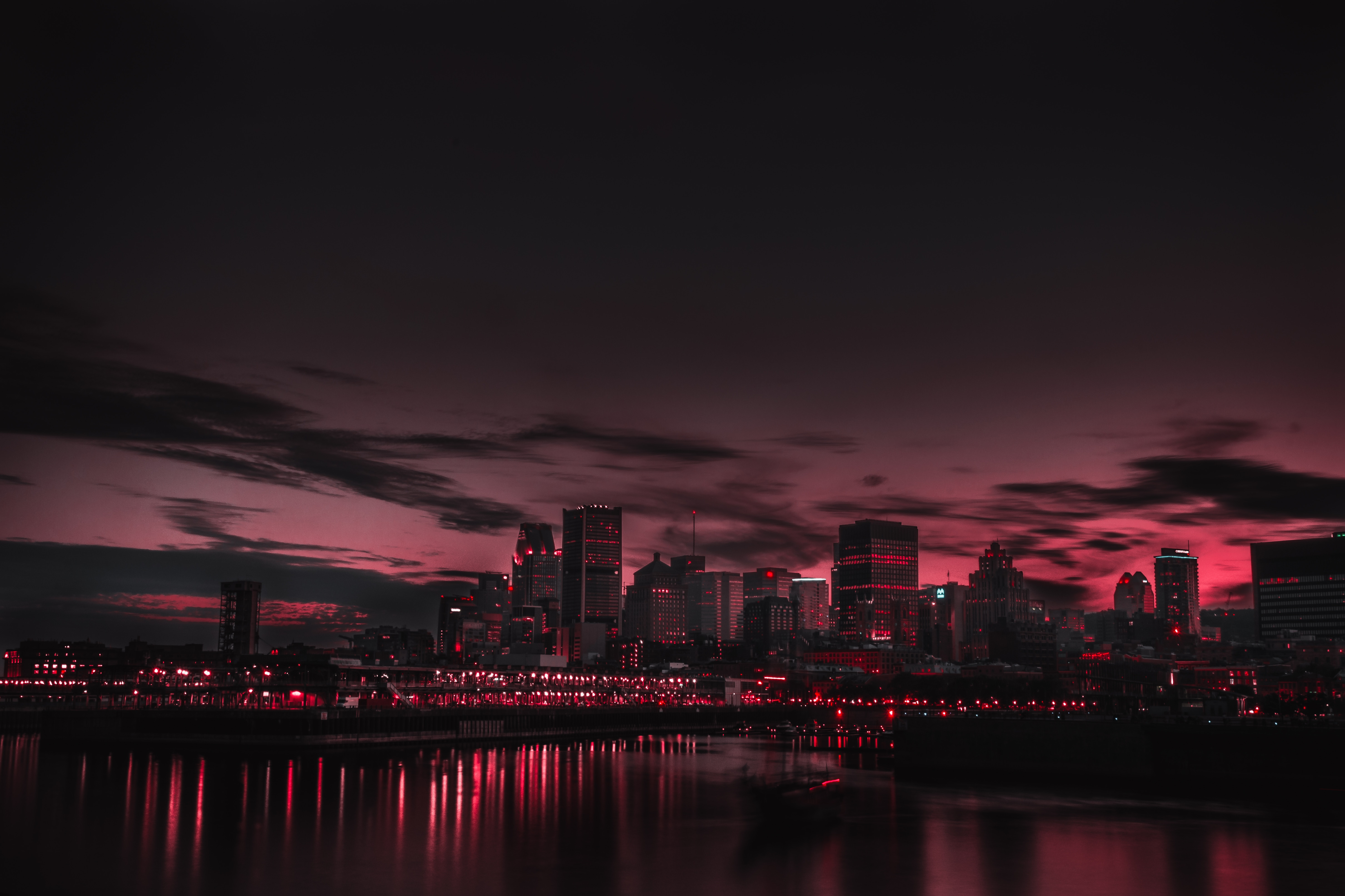 General 5920x3945 building cityscape red sunset lake Canada city lights dark city
