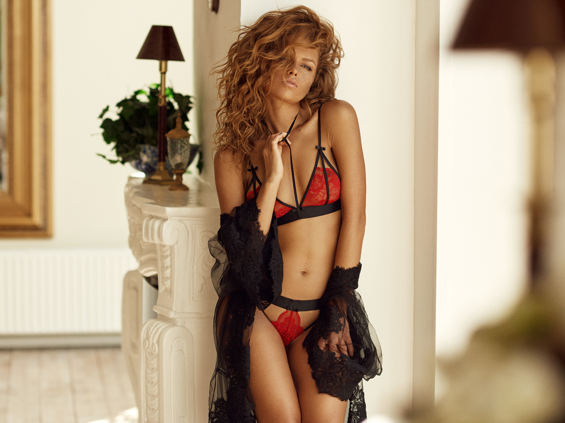 People 1800x1350 women redhead wavy hair lingerie red panties red bra face freckles tanned lace hair in face portrait depth of field see-through clothing Julia Yaroshenko Joakim Karlsson