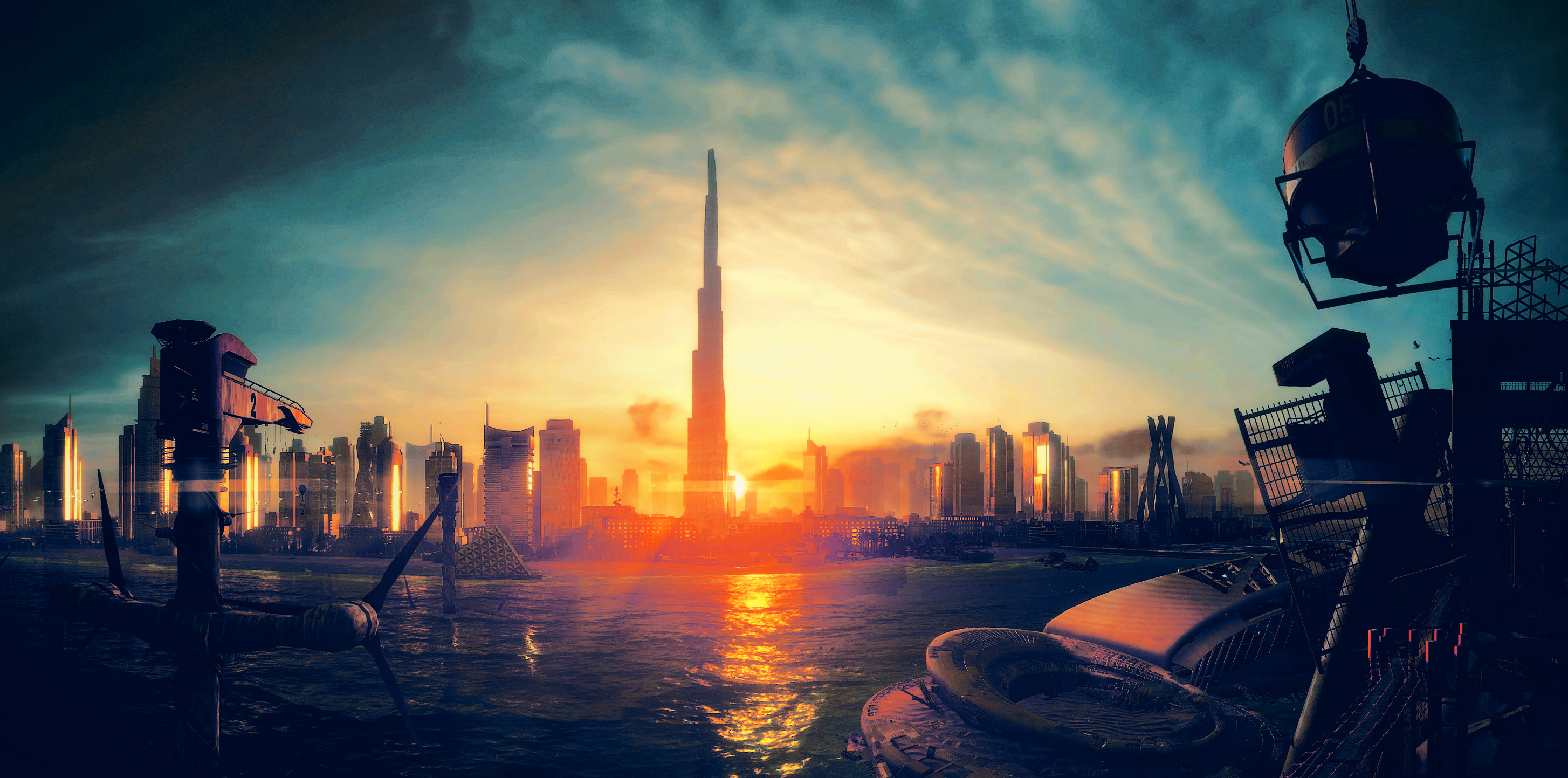 General 2908x1443 spec ops: the line video games video game art cityscape sunlight sky