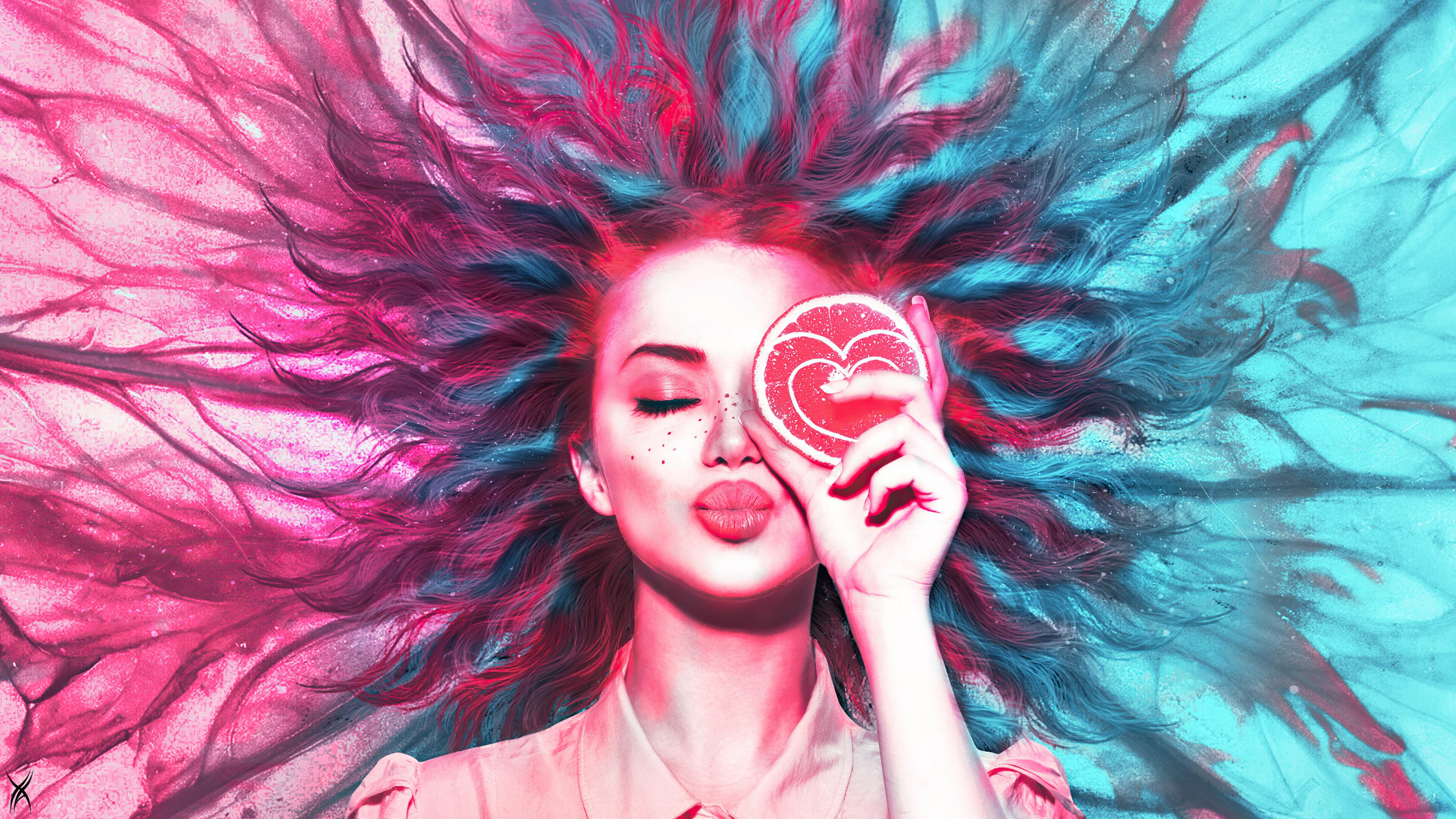 General 3840x2160 digital art artwork concept art love heart lips lipstick long hair pink blue women Photoshop lemons kissing illustration frontal view