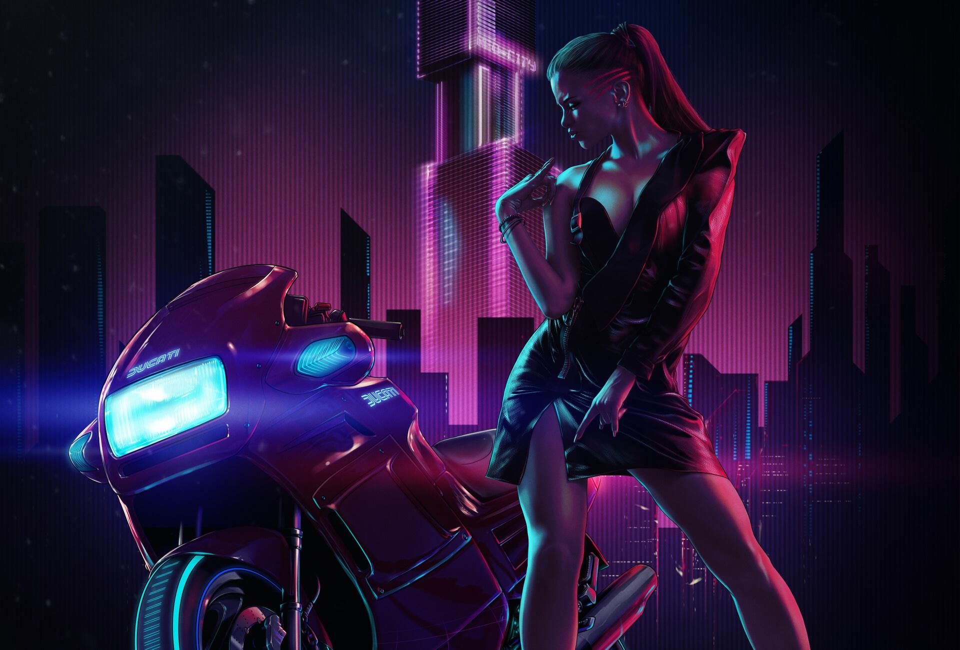 General 1920x1300 neon vehicle artwork women Ducati motorcycle cyberpunk