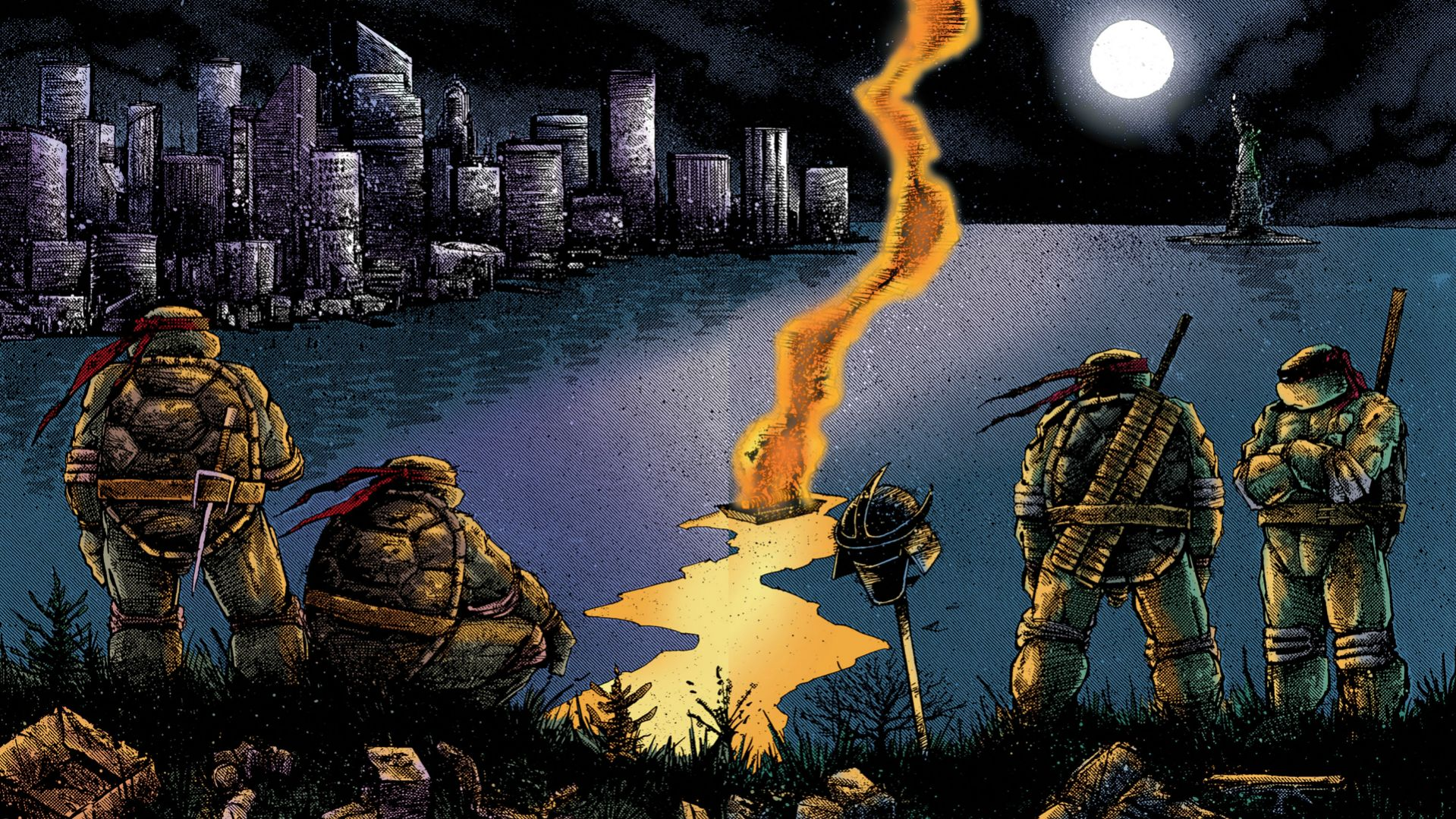General 1919x1079 Teenage Mutant Ninja Turtles comic art New York City Kevin Eastman Peter Laird