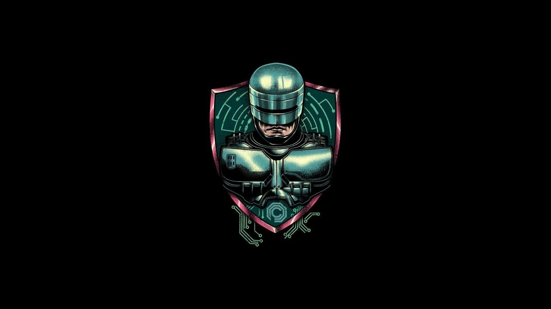 General 1920x1080 movies artwork minimalism cyborg RoboCop simple background