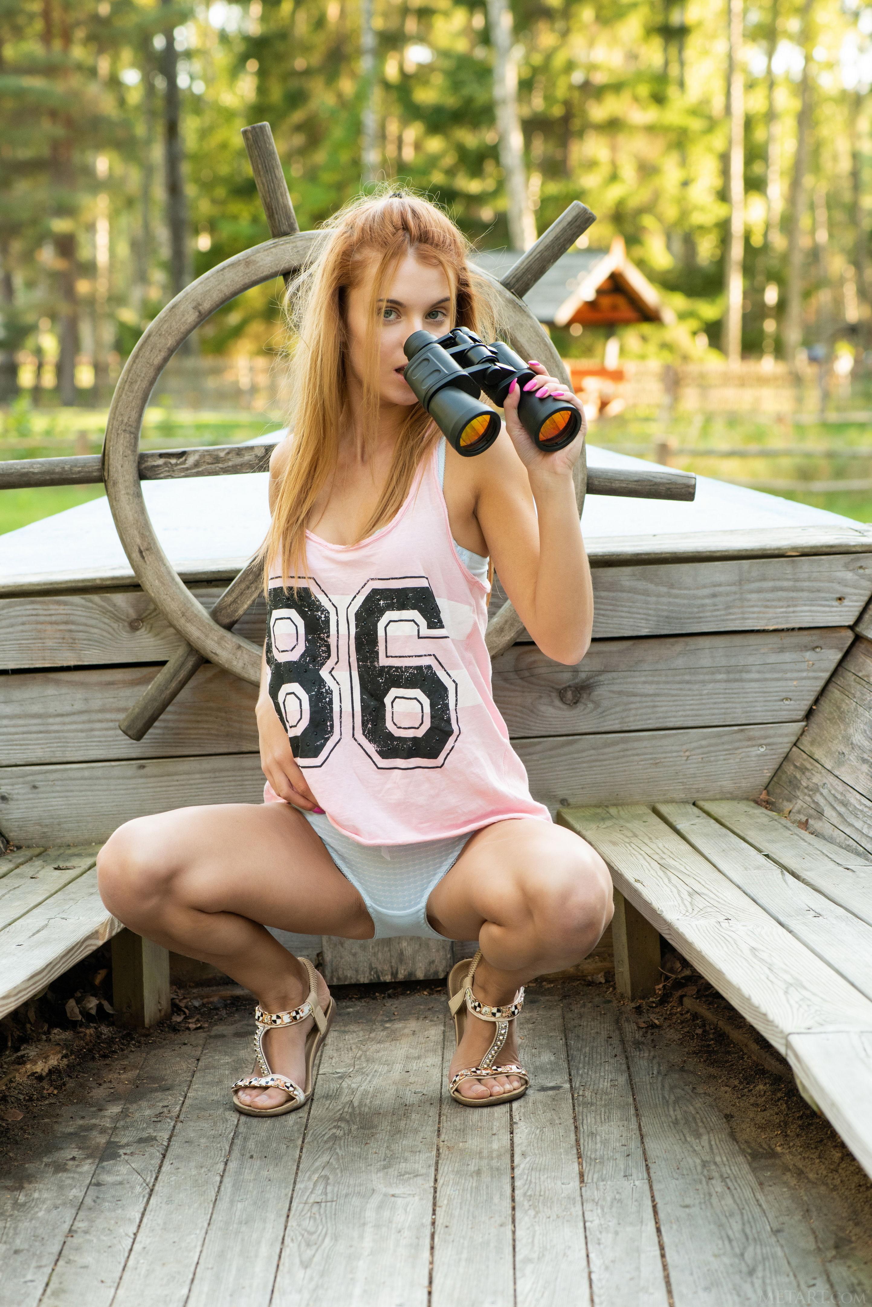 People 2886x4324 women blonde long hair boat swamp wood binoculars blouse green eyes MetArt Magazine Ingrid (Model) spread legs panties squatting