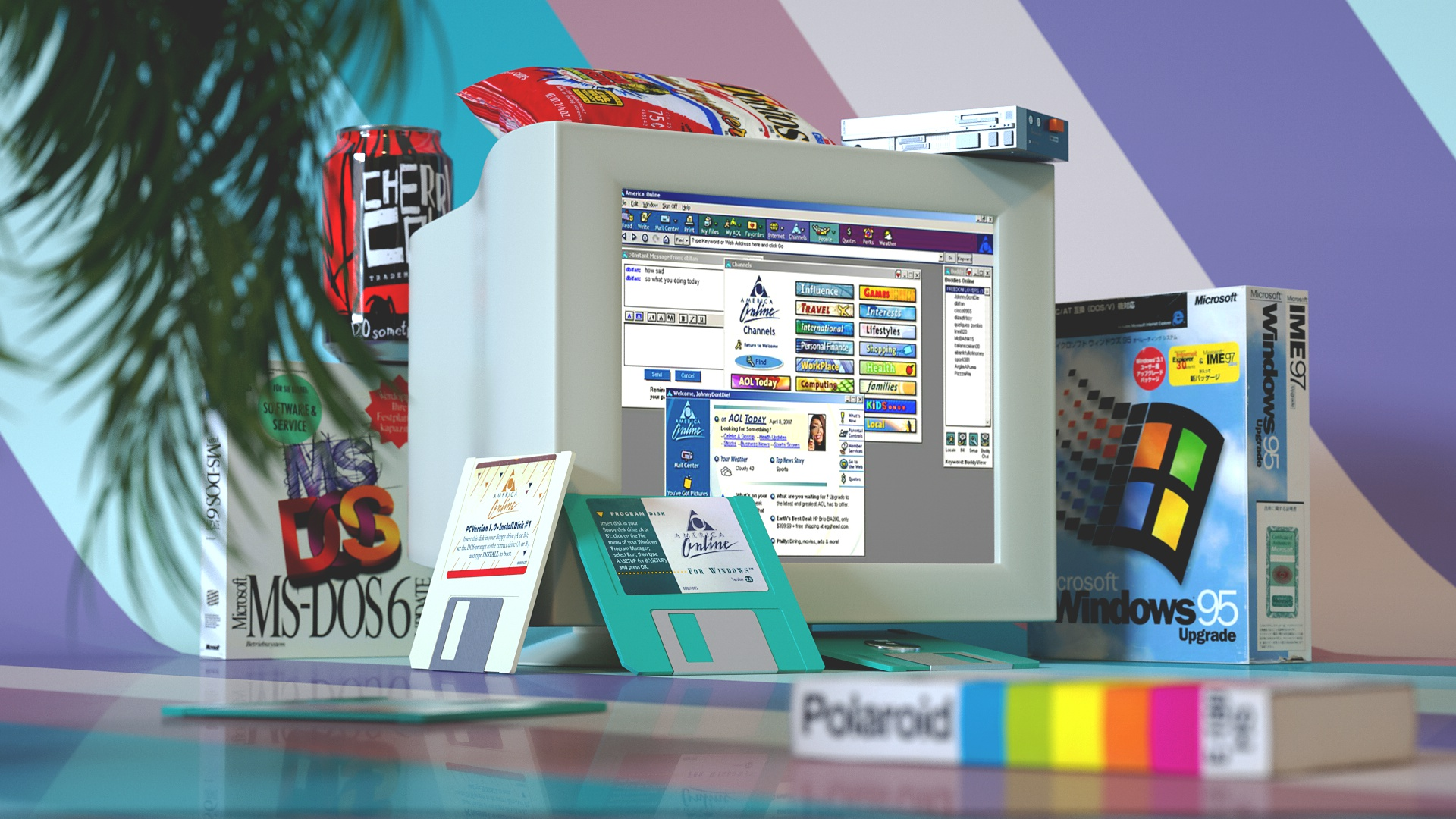 General 1920x1080 vintage technology computer monitor Microsoft Windows Windows 95 MS-DOS floppy disk VHS cherry coke nostalgia CRT