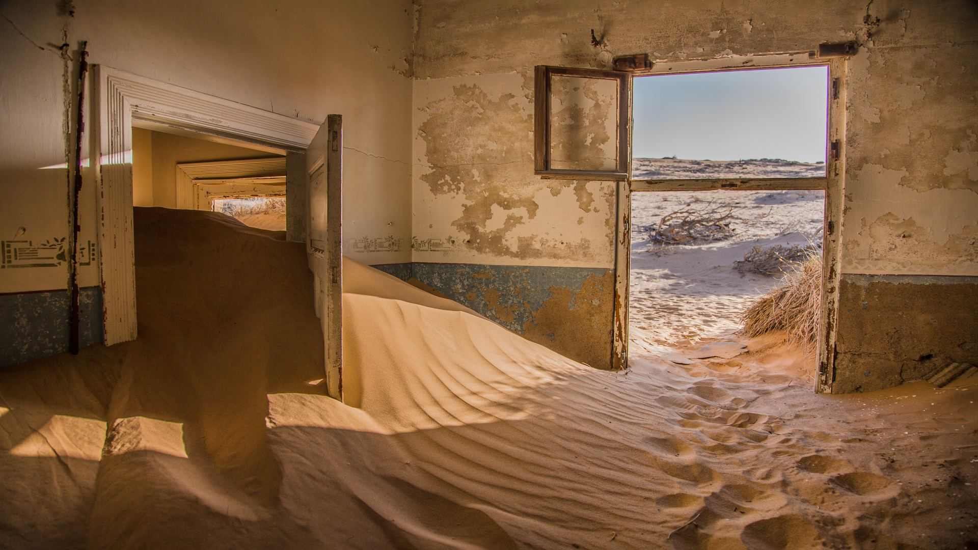 General 1920x1080 sand desert house Namibia abandoned ruin indoors dust brown door sunlight