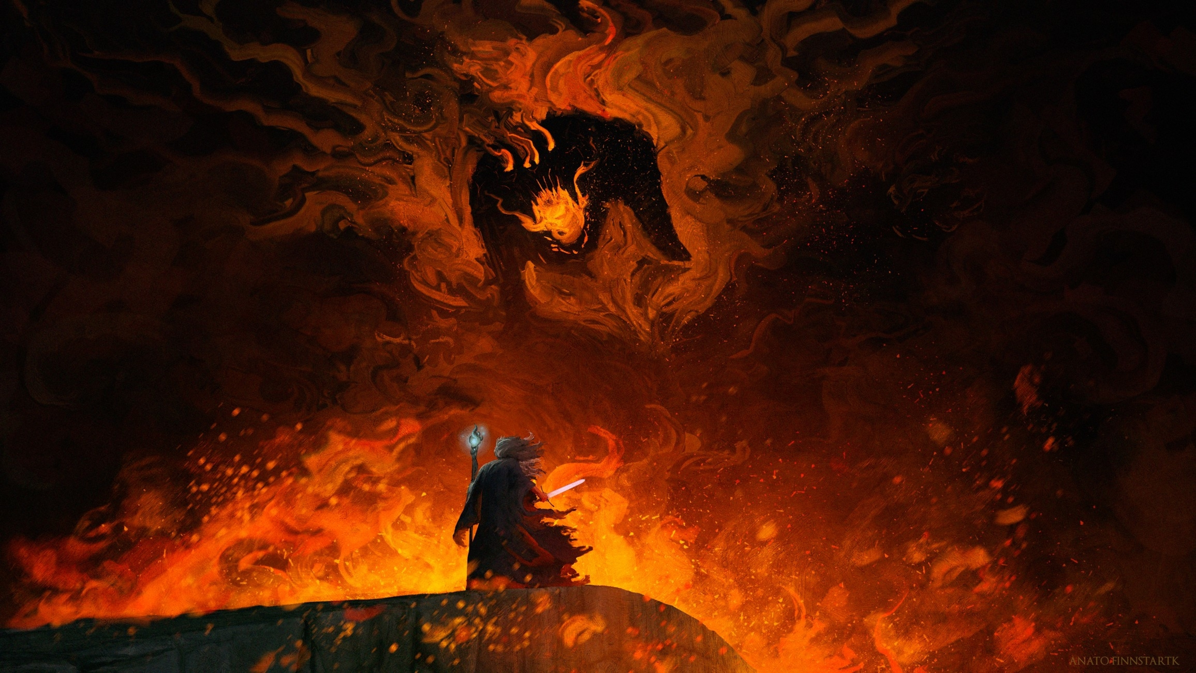 General 3840x2160 Gandalf Balrog The Lord of the Rings fantasy art