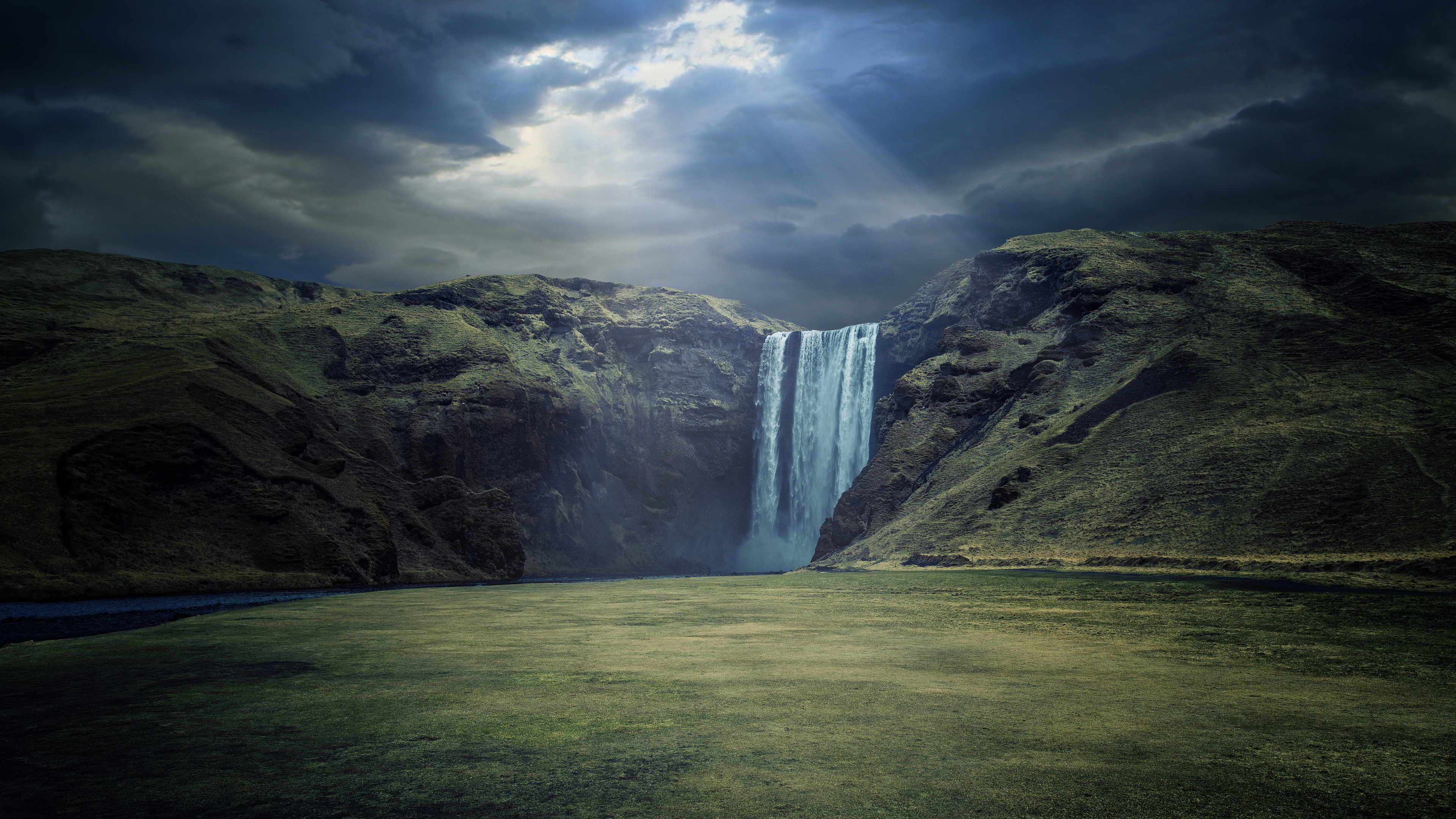 General 3840x2160 landscape nature waterfall river clouds sun rays Iceland photography