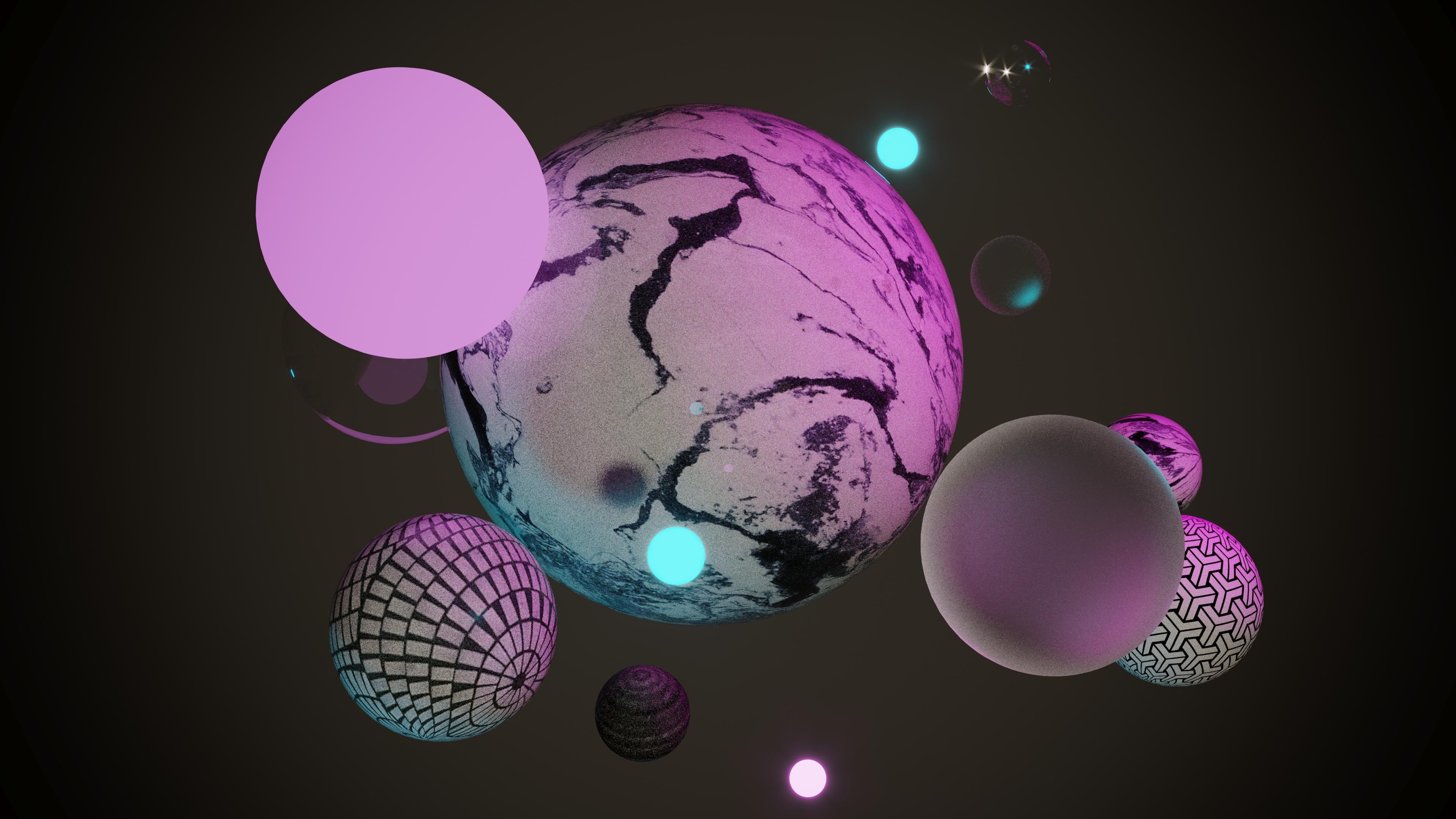 General 3840x2160 4K render minimalism geometric figures 3d design 3D graphics pink cyan magenta ray tracing