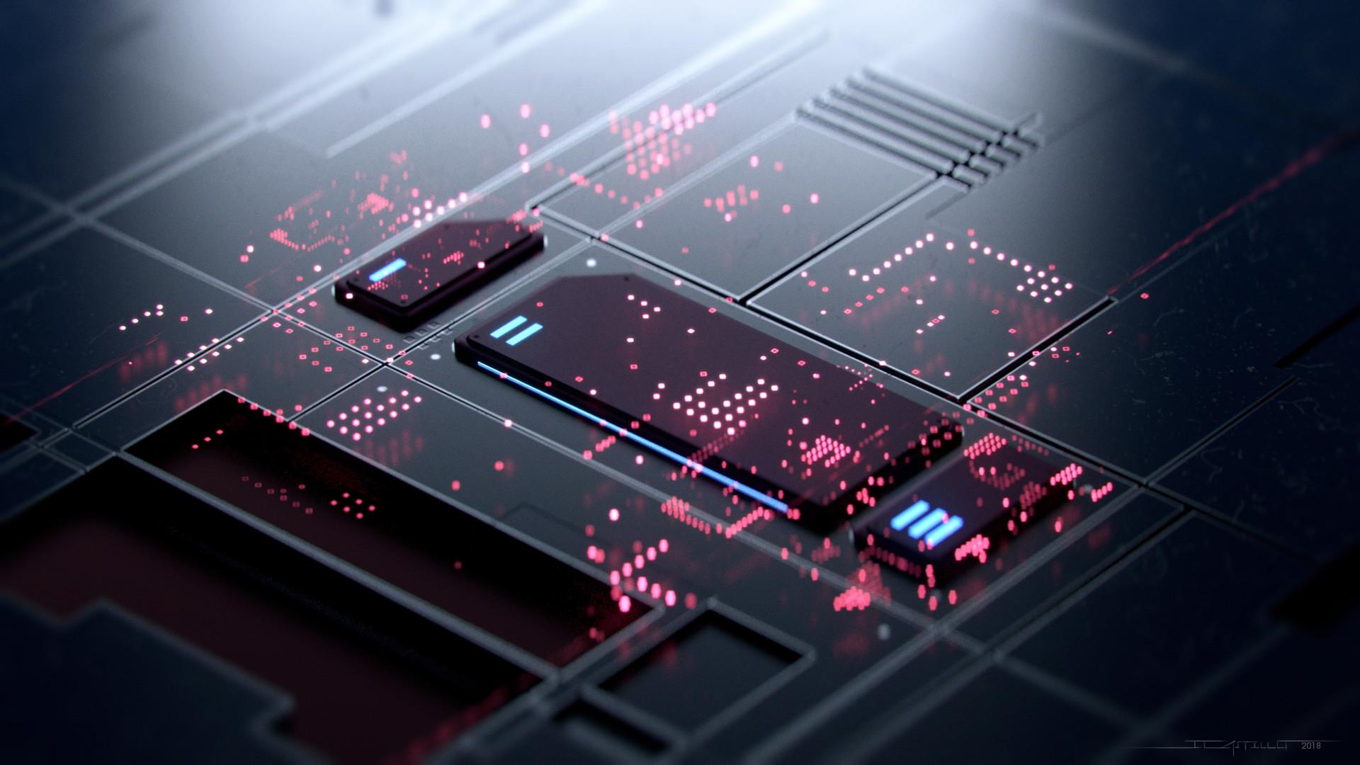 General 1920x1080 3D circuits digital art technology Jorge Castillo