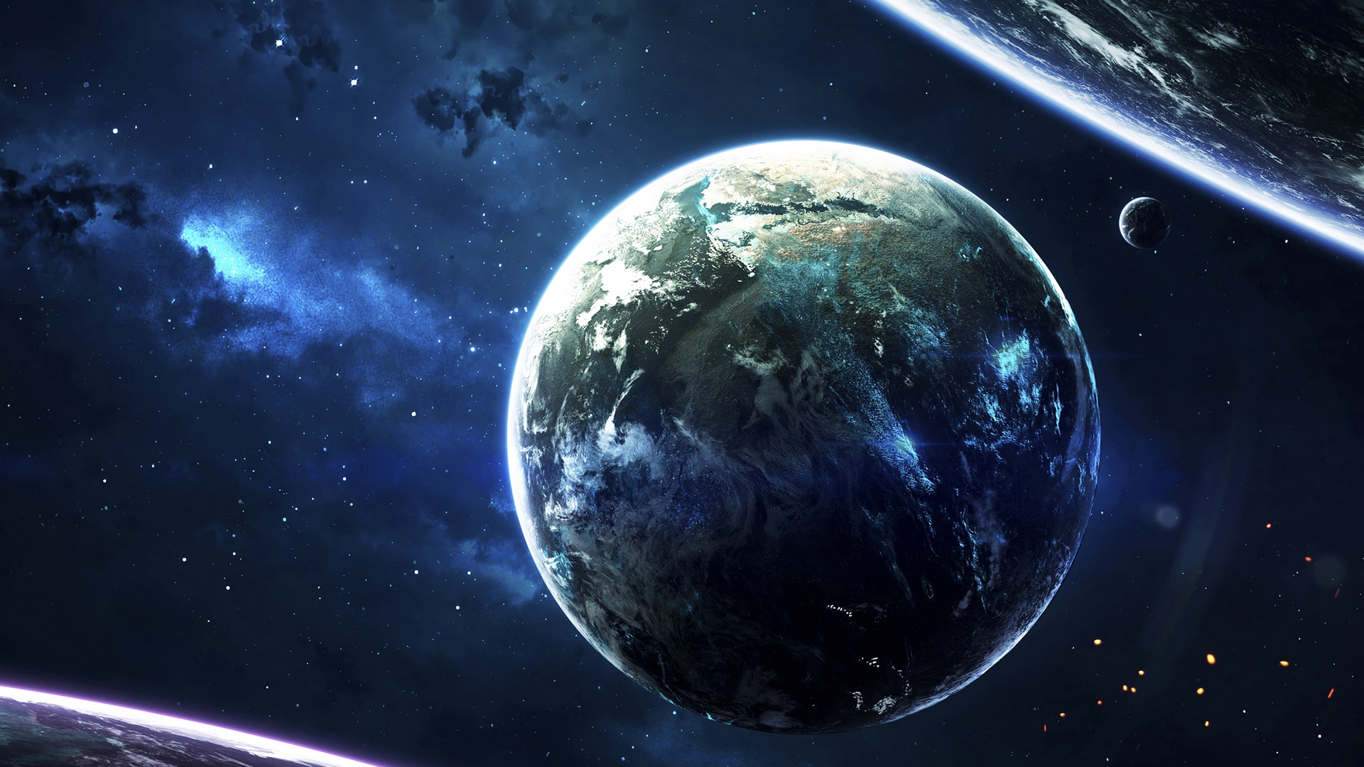 General 1920x1080 planet space lights stars blue