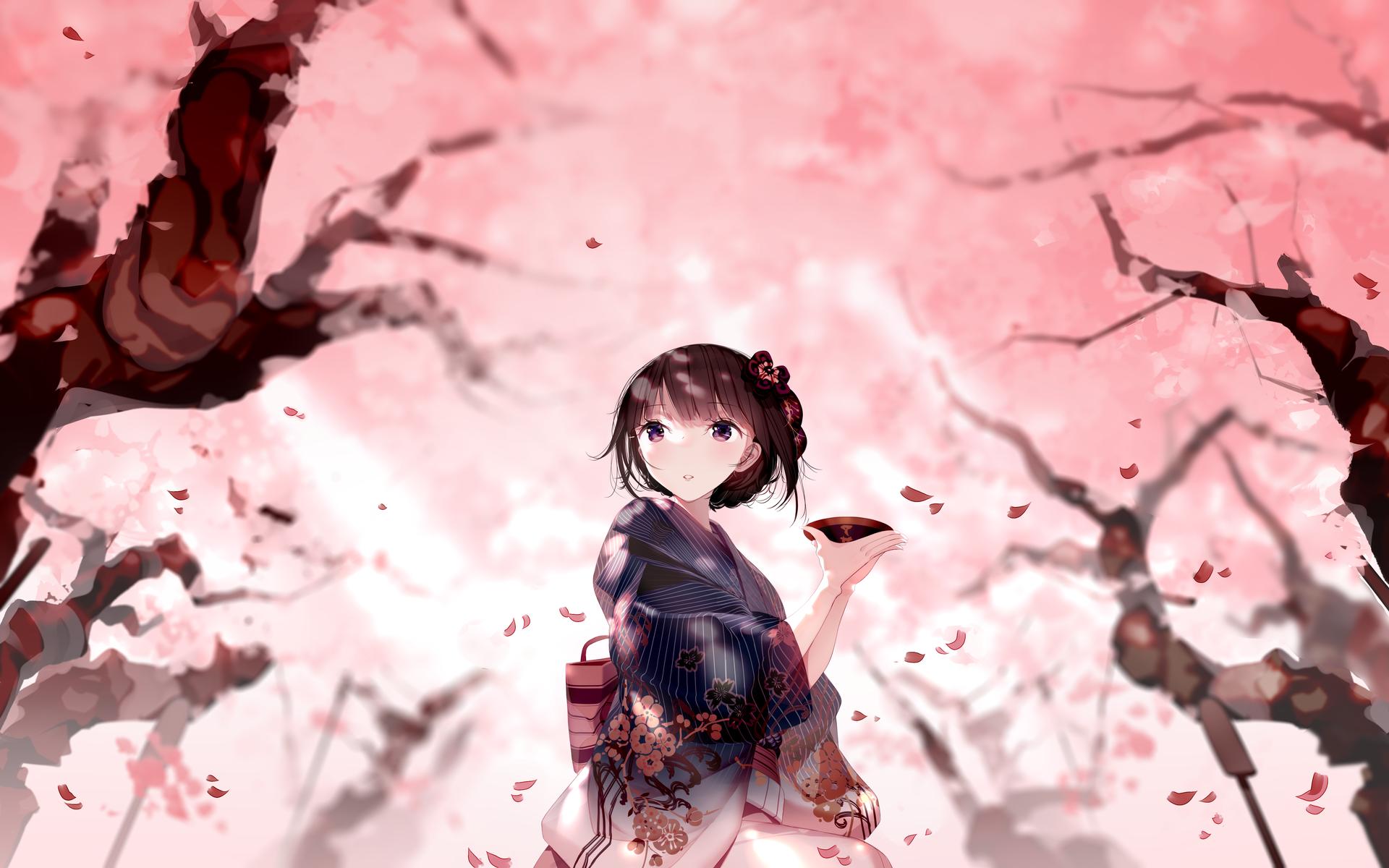 Anime 1920x1200 anime girls original characters anime brunette bangs looking away kimono depth of field cherry blossom spring trees artwork digital art drawing 2D illustration Atha