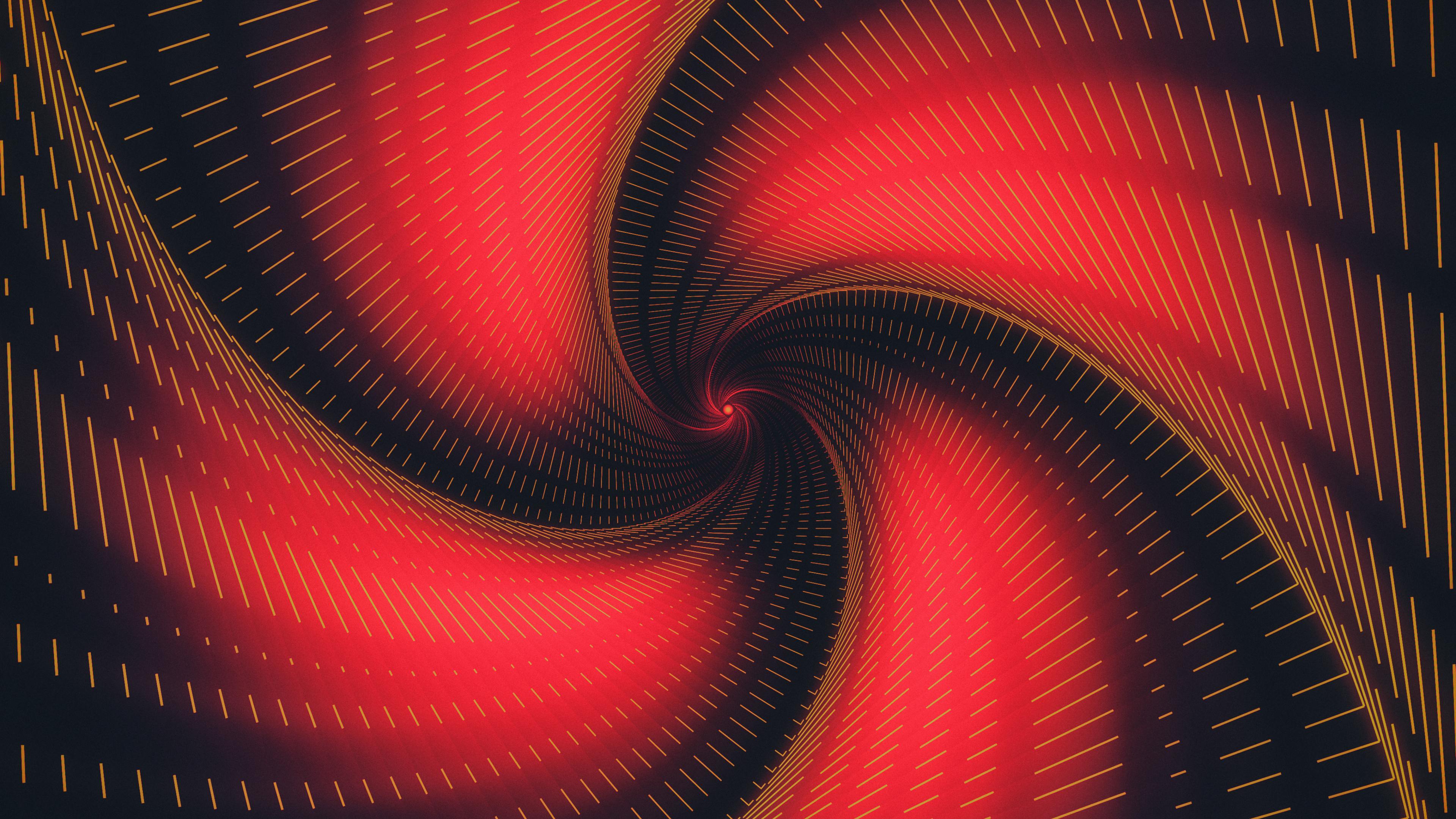 General 3840x2160 abstract swirl digital art red black lines Erich Randall