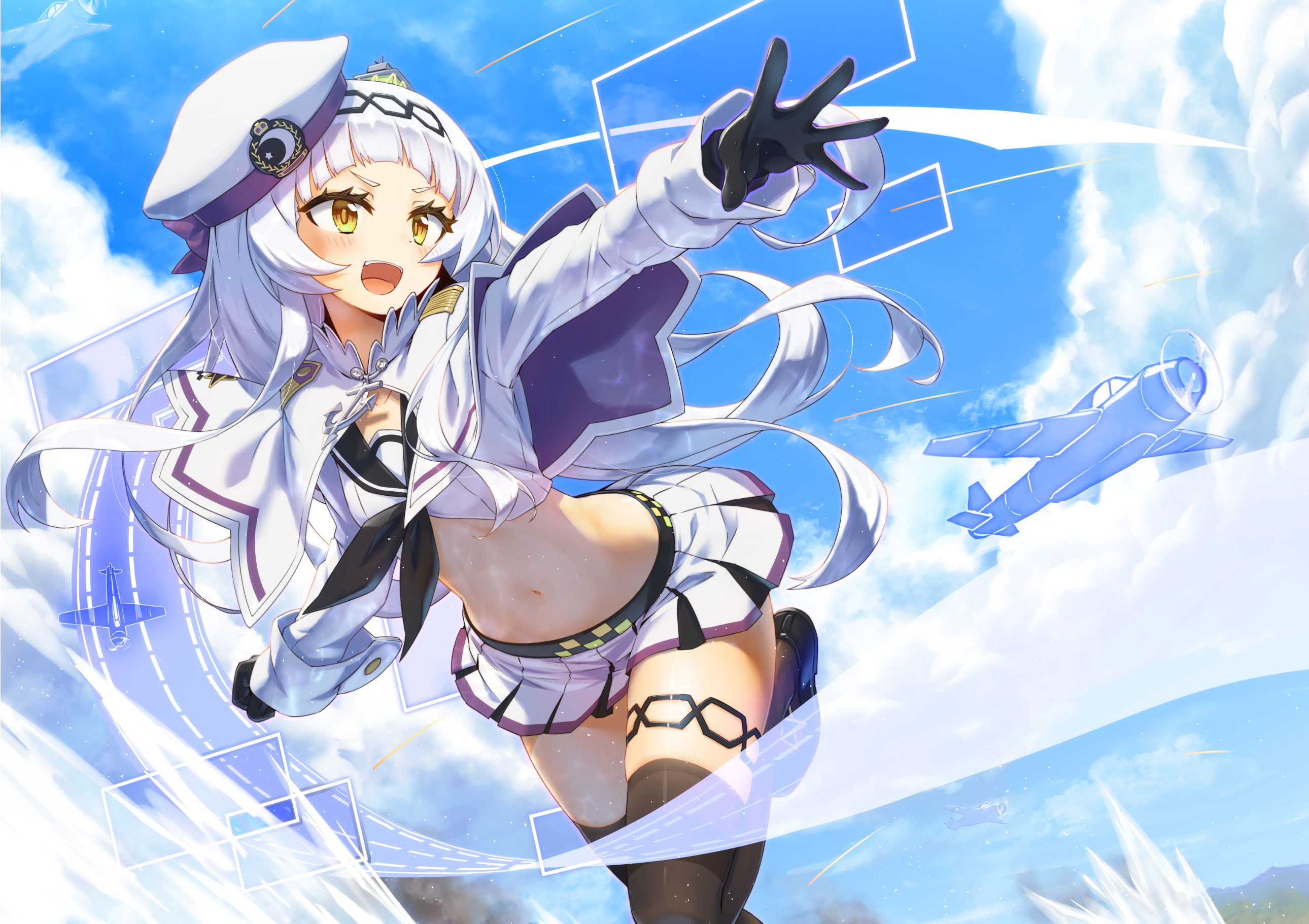 Anime 2580x1821 Murasaki Shion gray hair long hair yellow eyes hat belly skirt thighs stockings open mouth blush cape clouds gloves navels sky school uniform Hololive Virtual Youtuber Azur Lane anime