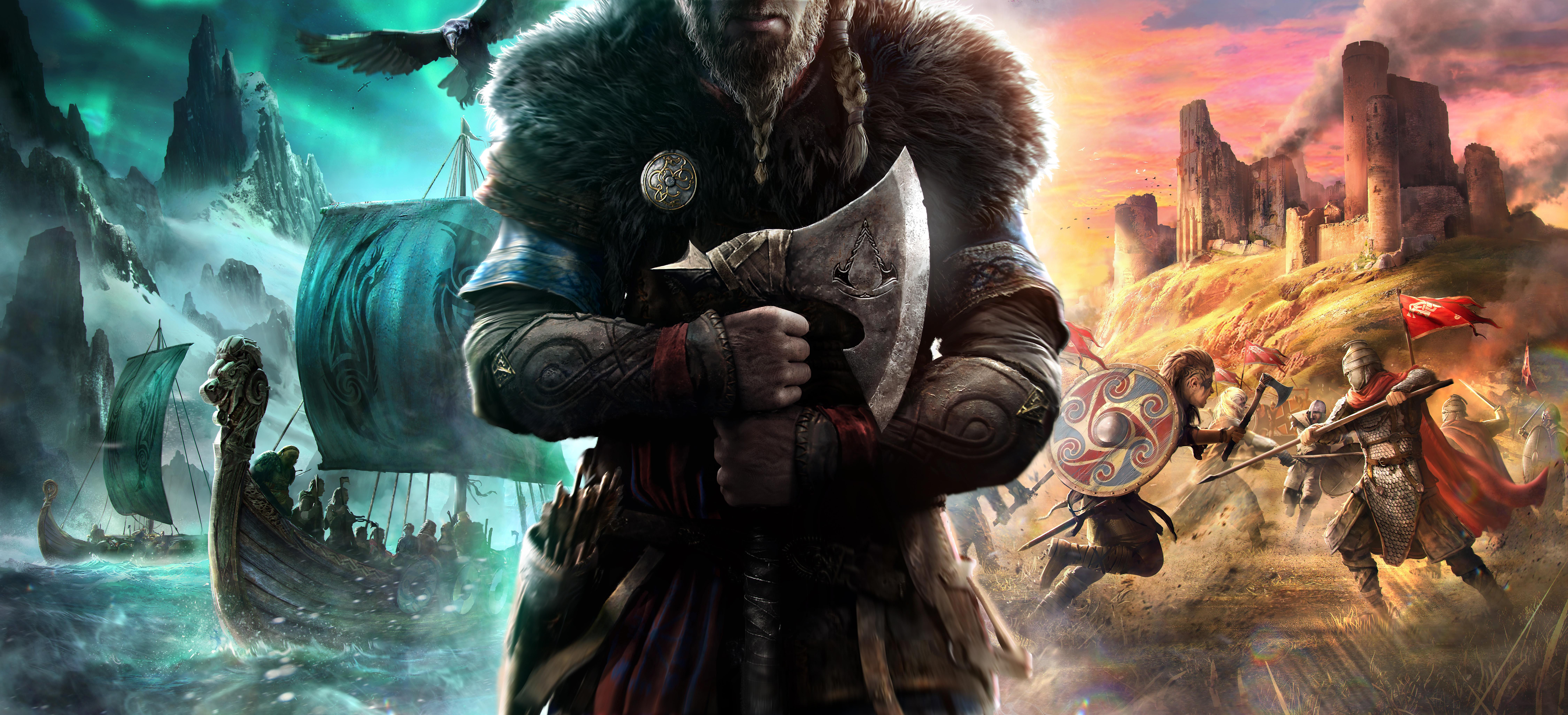 General 9000x4102 Assassin's Creed: Valhalla video games game art digital art viking Axe boat shield sword armor raven ultrawide ultra-wide