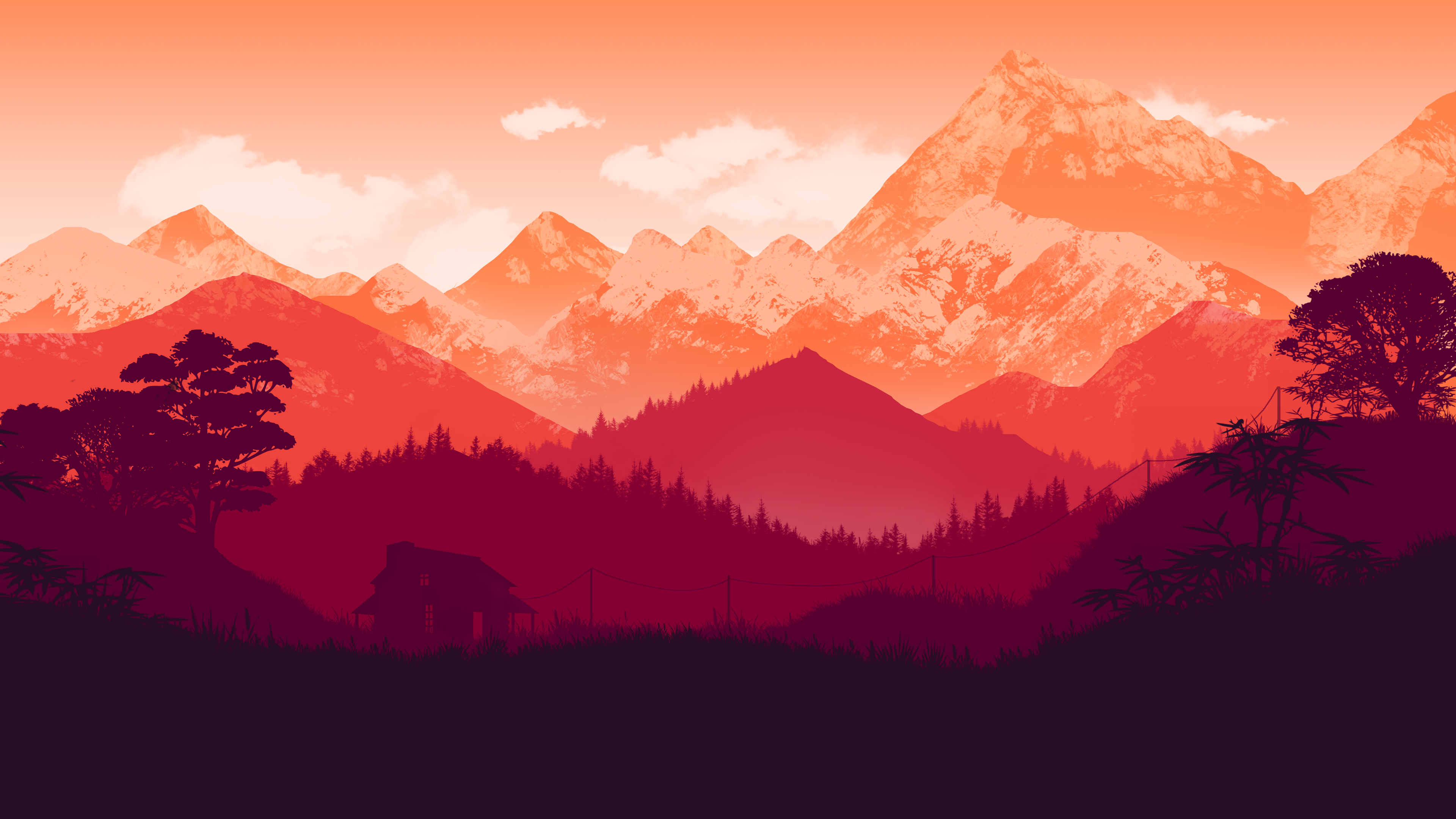 General 3840x2160 dusk mountains forest digital artwork clouds house power lines red