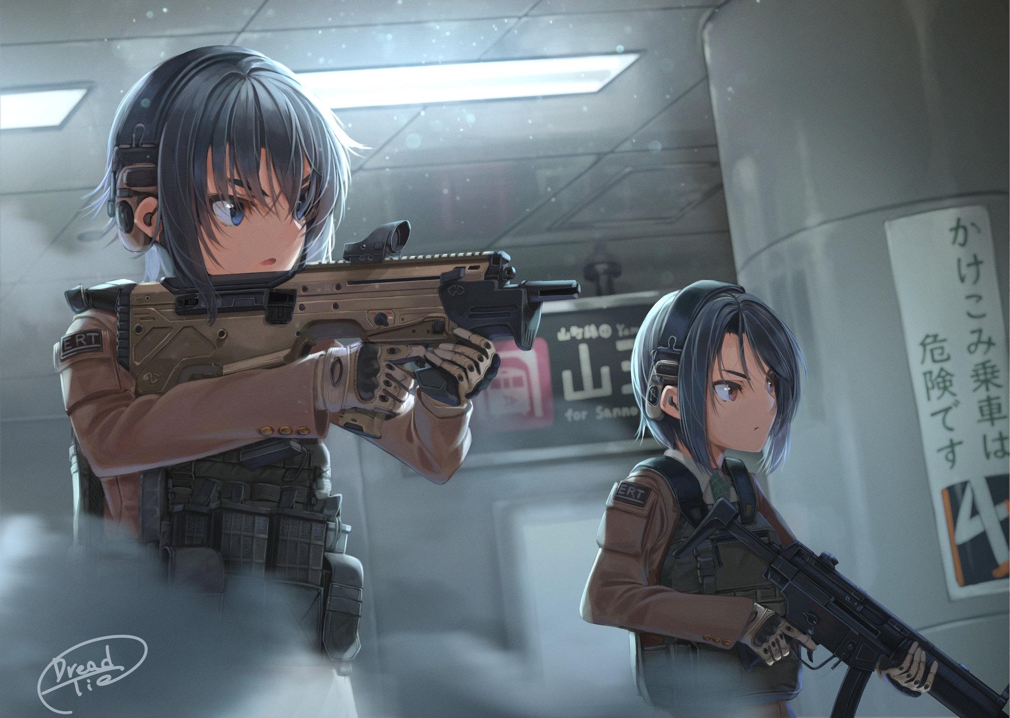 Anime 2040x1450 anime guns anime anime girls girls with guns machine gun two women dark hair blue eyes weapon