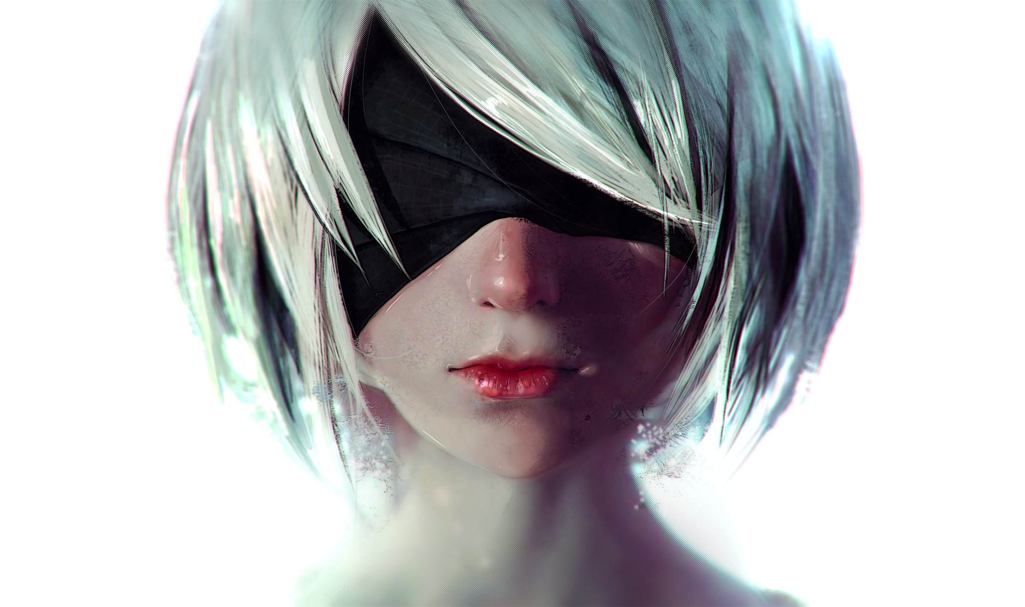 General 2100x1244 Nier: Automata 2B (Nier: Automata) NieR video game characters human android short hair video games white background white hair digital art blindfold portrait Rashed AlAkroka