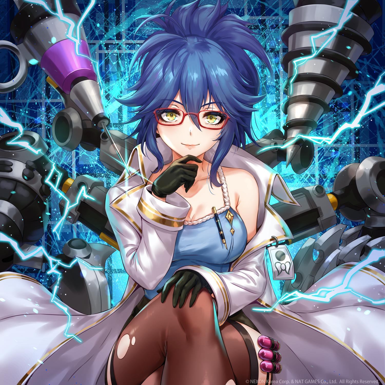 Anime 1500x1500 anime anime girls digital art artwork 2D portrait display vertical blue hair looking at viewer legs crossed smiling sakiyamama mech glasses stockings thigh-highs cleavage pen boobs solo
