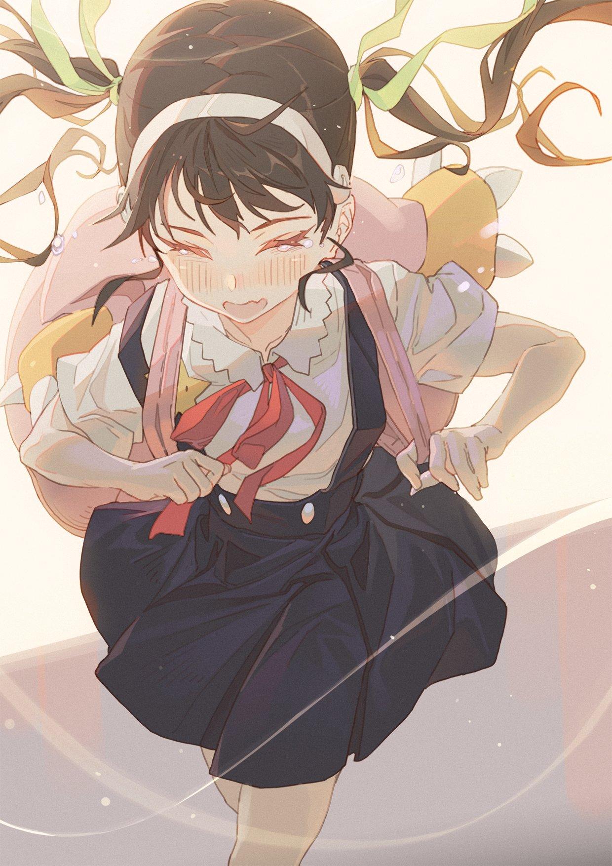 Anime 1240x1754 Monogatari Series anime girls anime Hong Hachikuji Mayoi school uniform tears twintails brunette loli