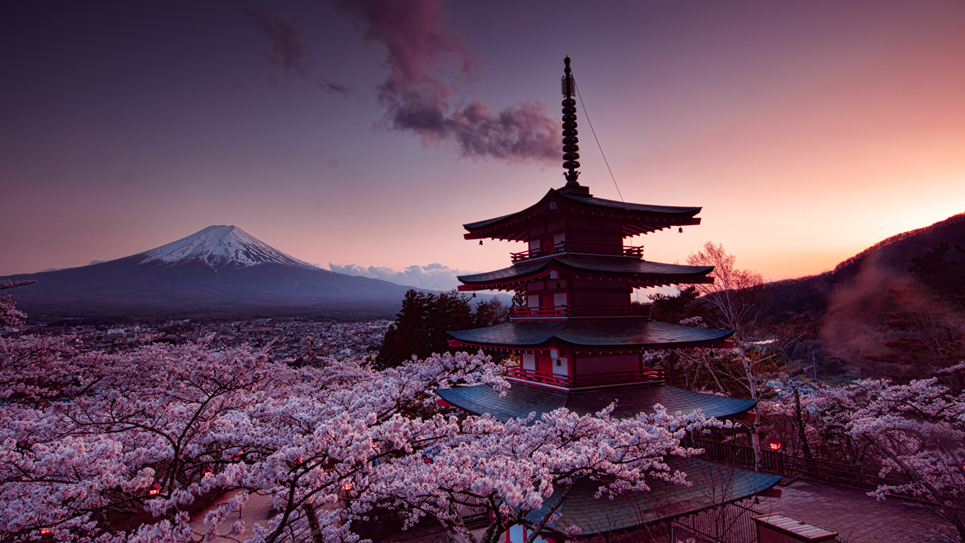 General 1920x1080 cherry blossom pink sky Asian architecture trees clouds Asia mountains